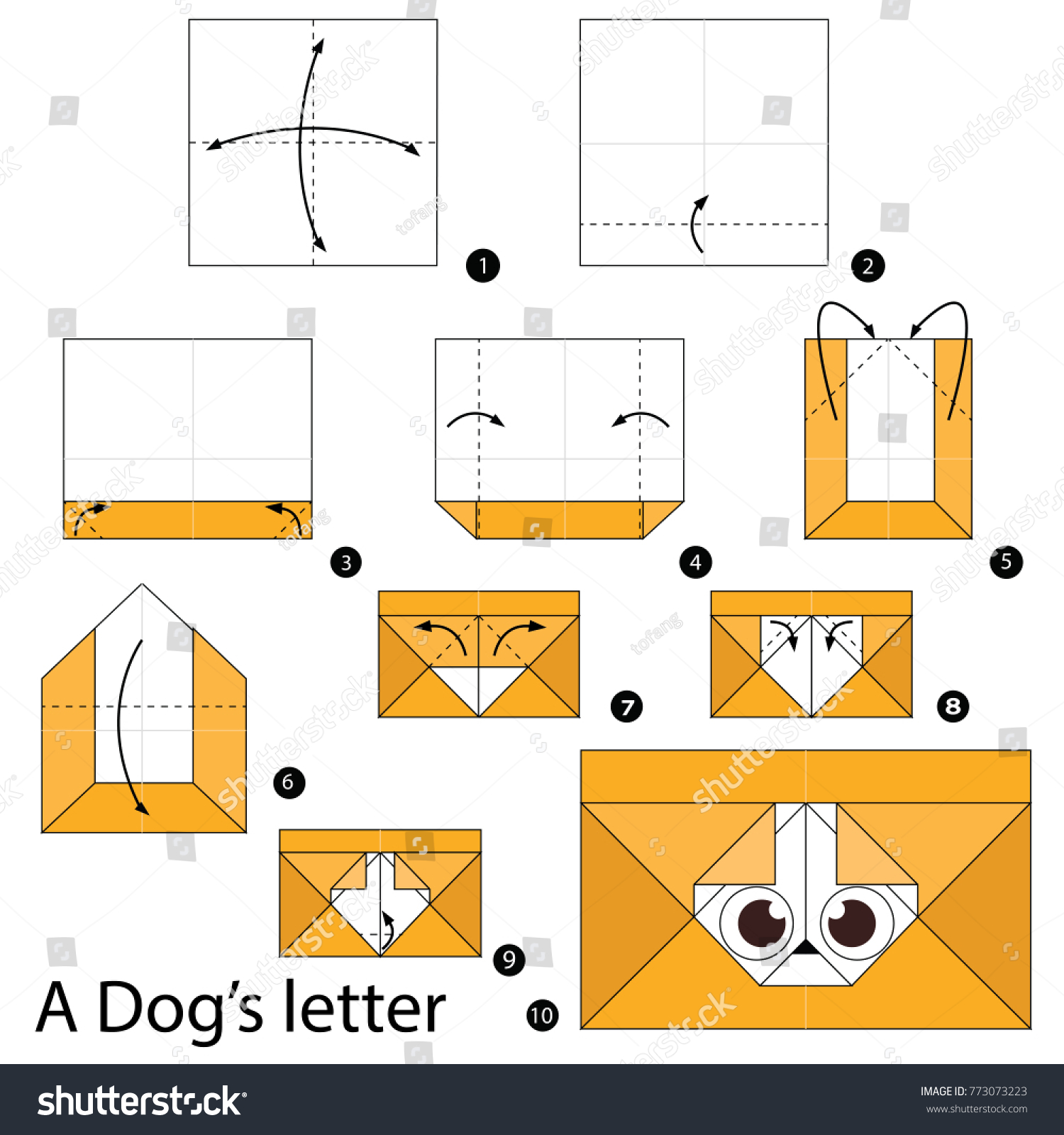 Step By Instructions How Make Stock Vector Royalty Free Origami Dog Diagram To A Dogs Letter
