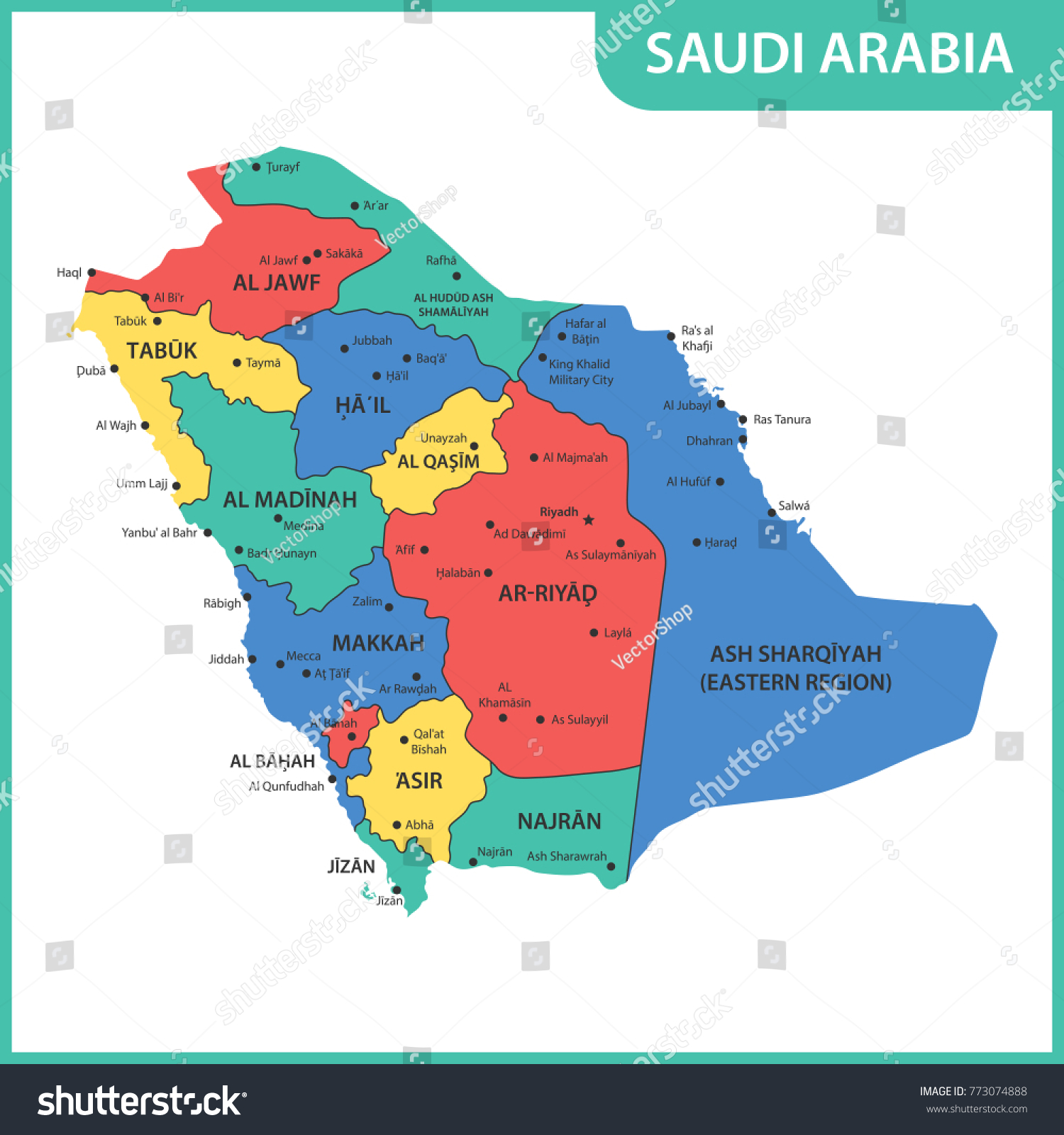 the detailed map of the saudi arabia with regions or states and cities capitals