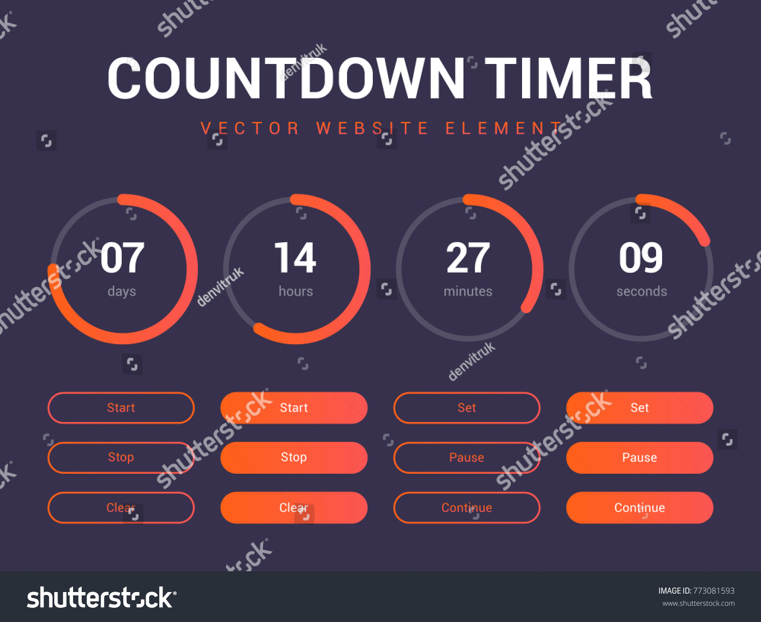 Countdown Timer Vector Website Element Buttons Stock Vector (Royalty ...