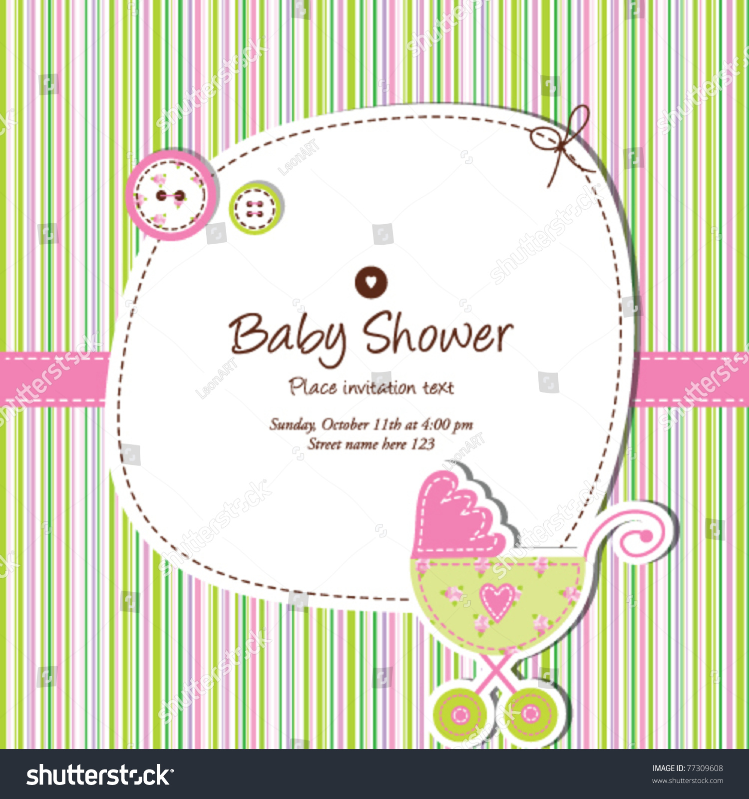 Baby Shower Invitation Template cute Vector Stock Vector