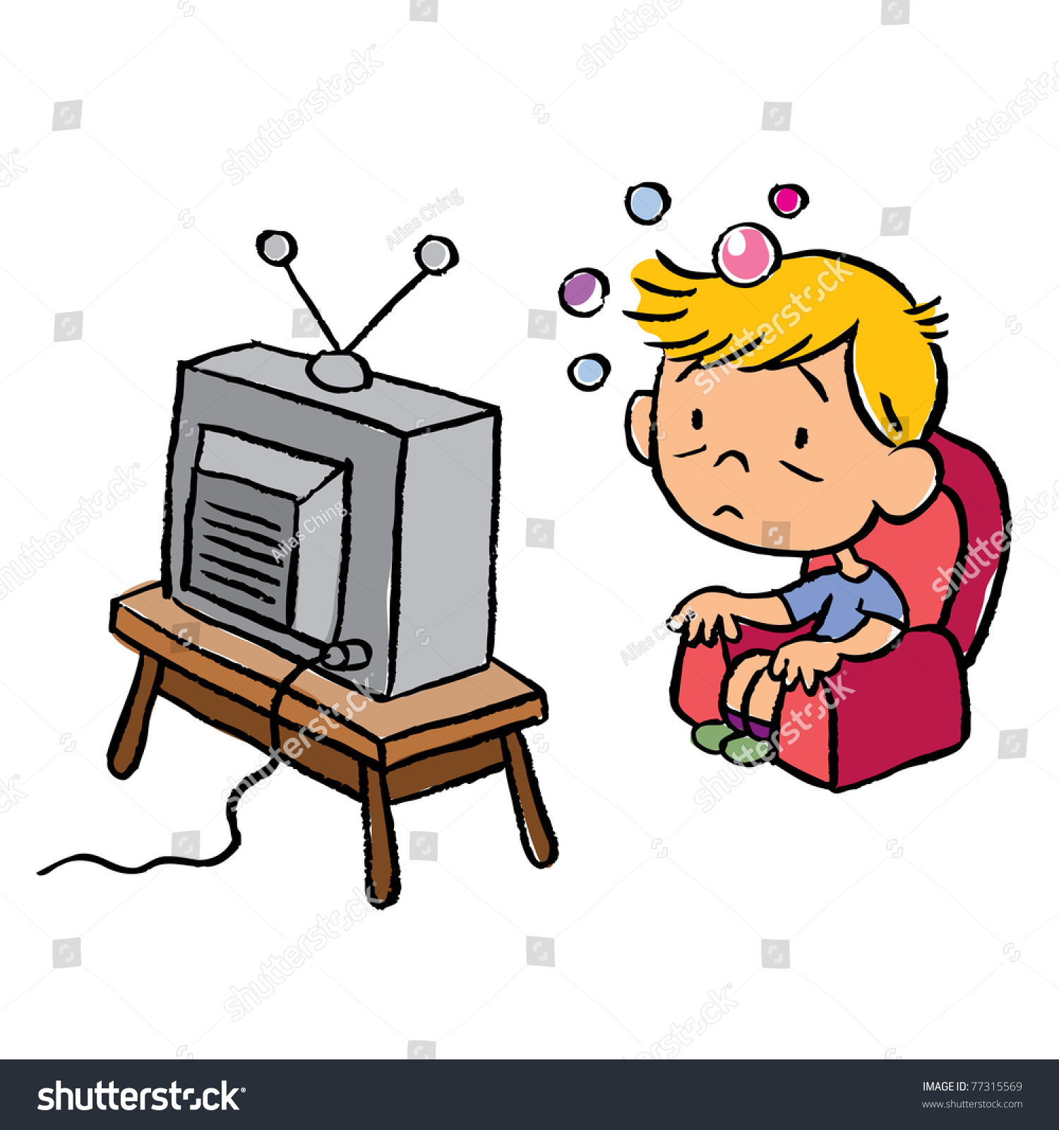 Child Addicted Television Stock Vector 77315569 Shutterstock