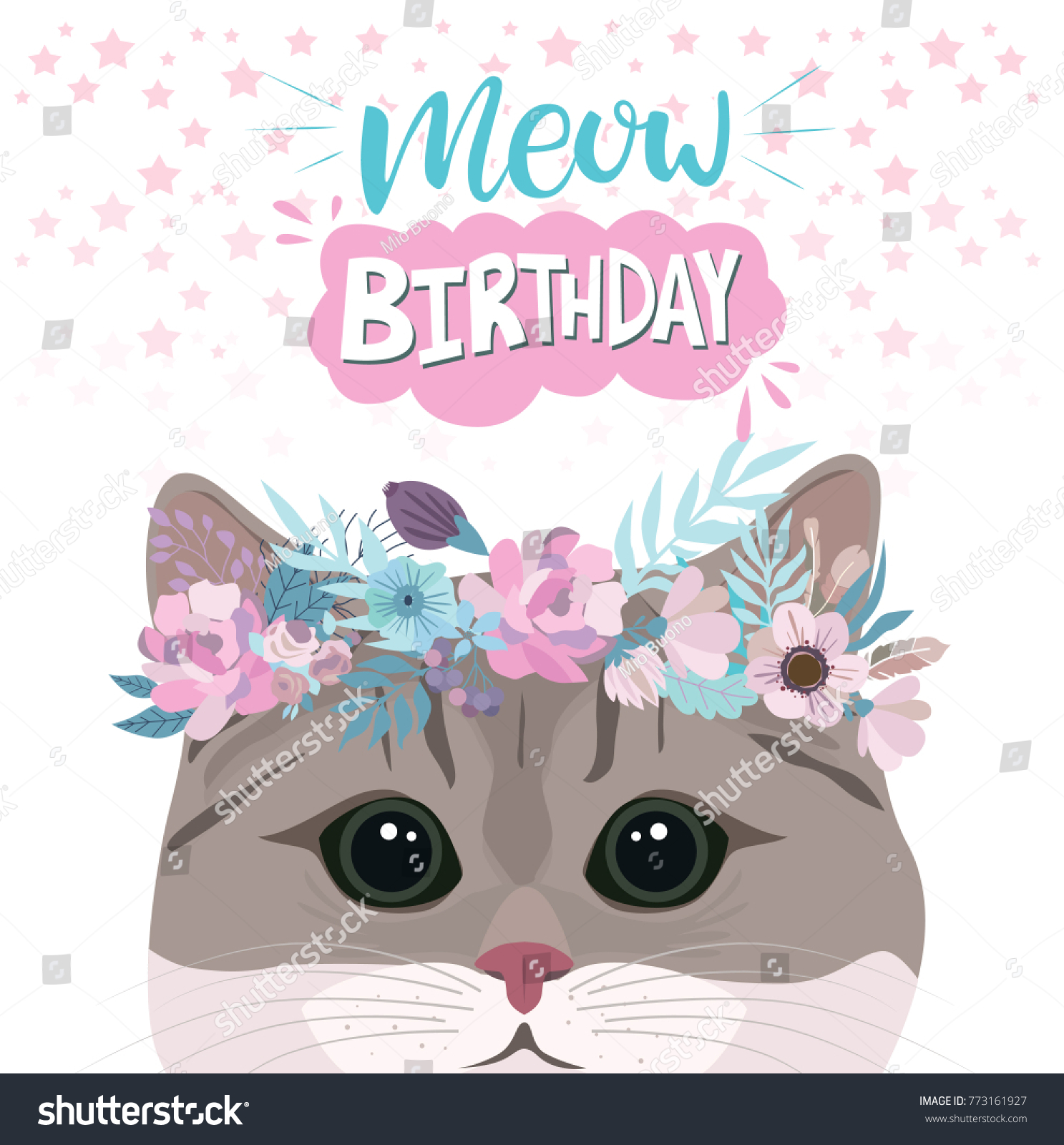 Happy Birthday Greeting Card Cute Cat Stock Vector Royalty Free