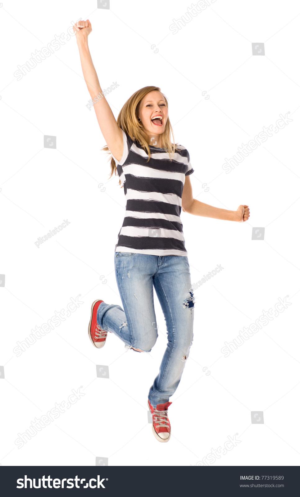 woman jumping joy stock photo 77319589 shutterstock