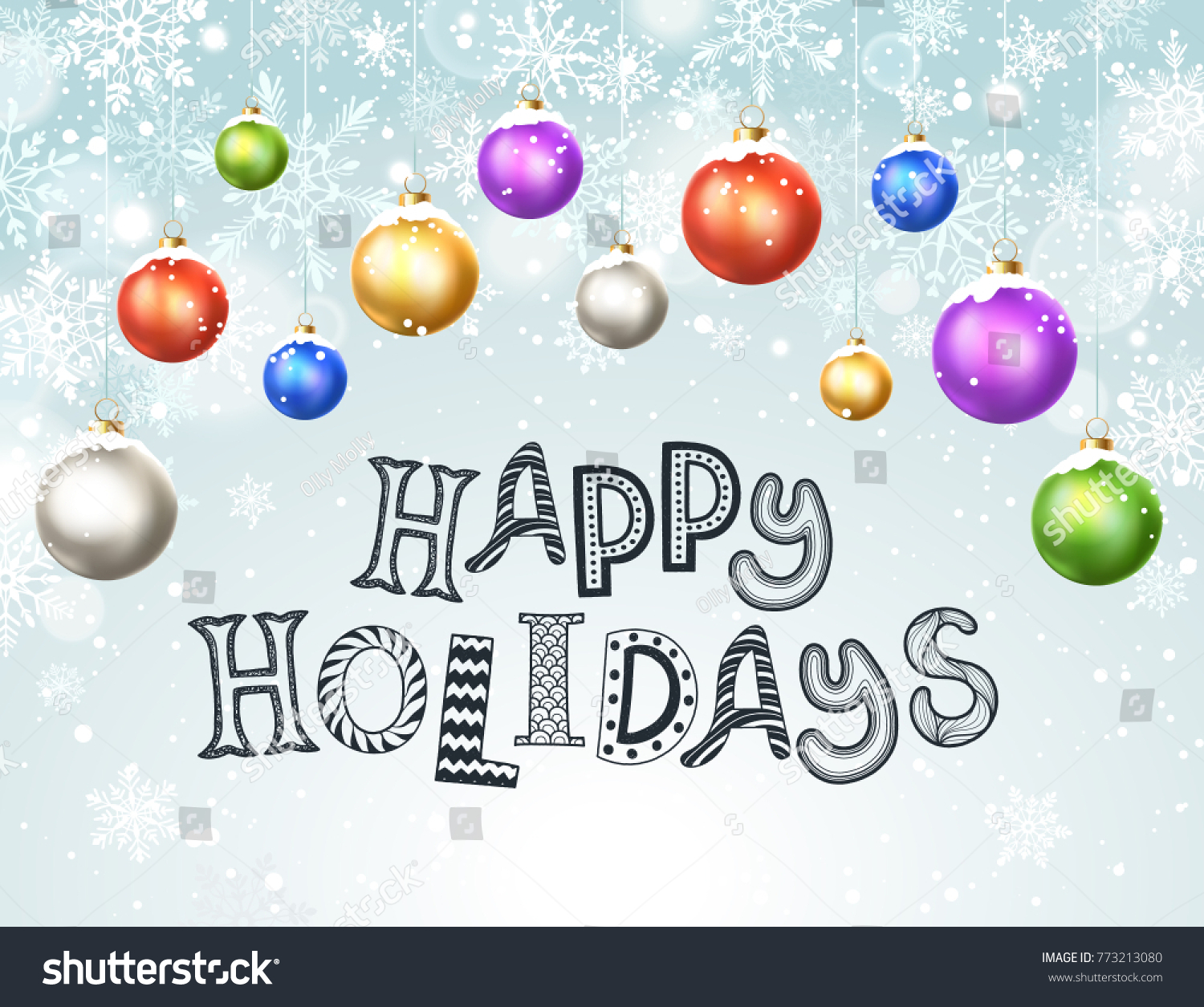 Happy holidays greeting card template modern stock vector royalty happy holidays greeting card template modern new year christmas balls with snowflakes on blue background m4hsunfo