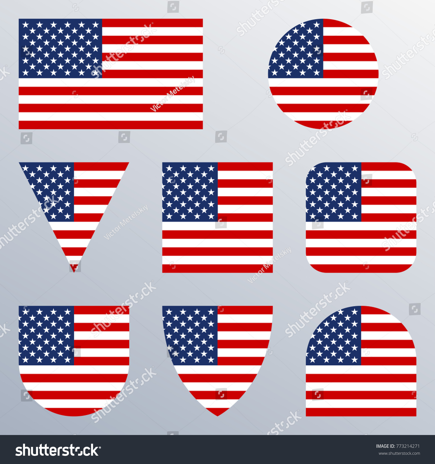 10efe41958af USA flag icon set. American flags in different shapes. United States button  collection.
