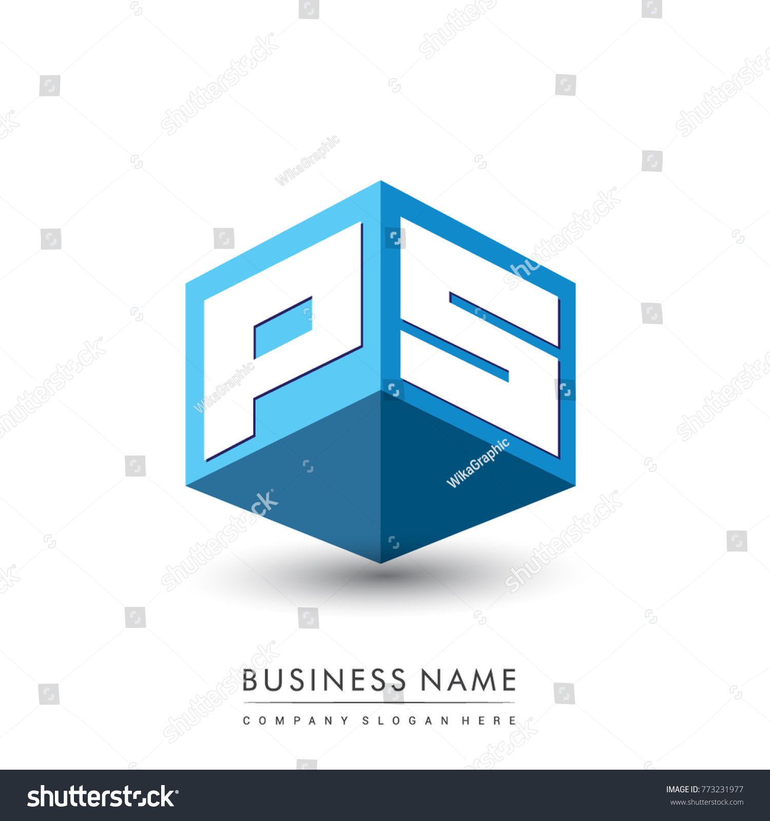 Letter Ps Logo Hexagon Shape Blue Stock Vector   Shutterstock