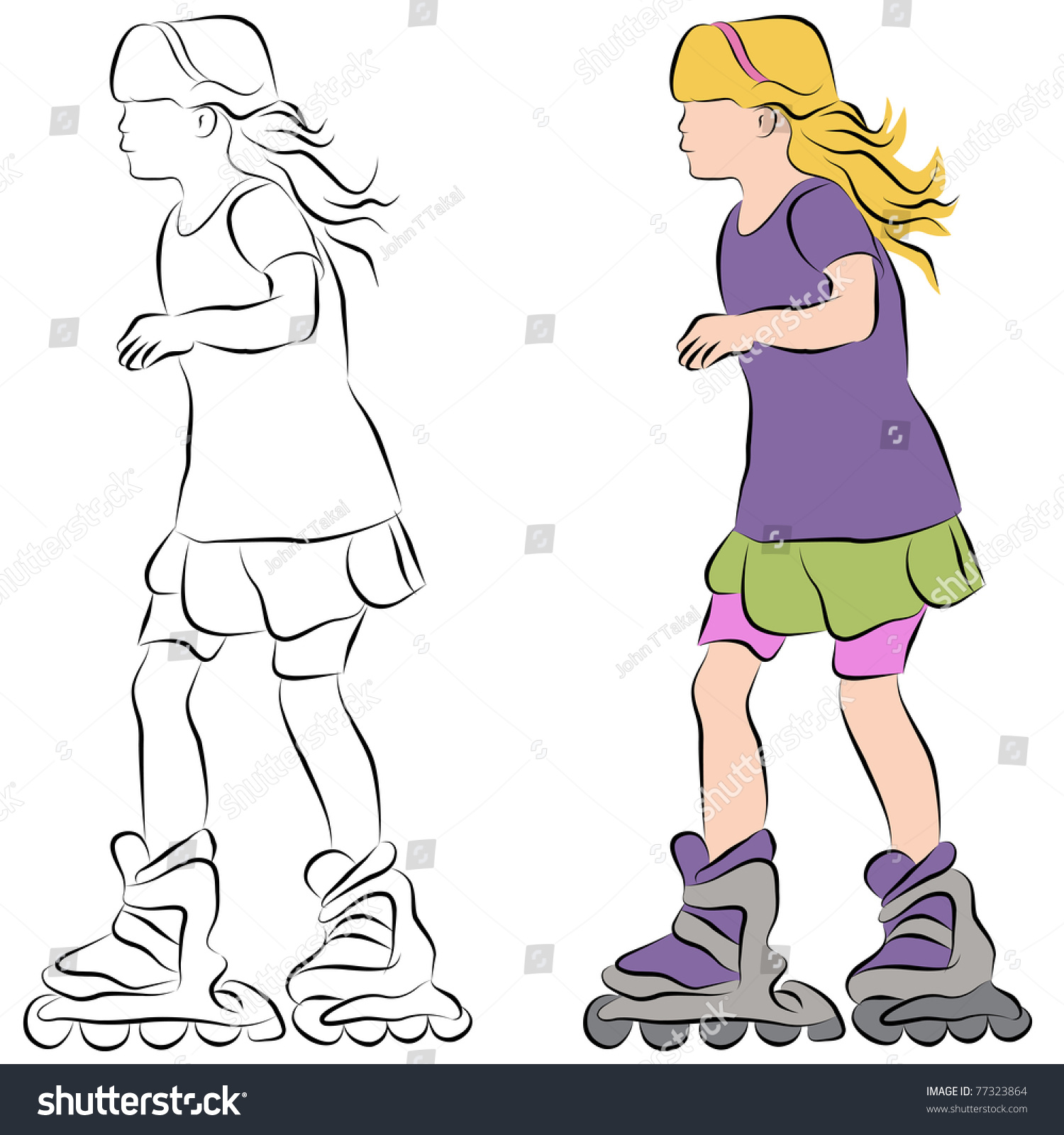 Line Drawing Little Girl : An image of a rollerblading little girl line drawing