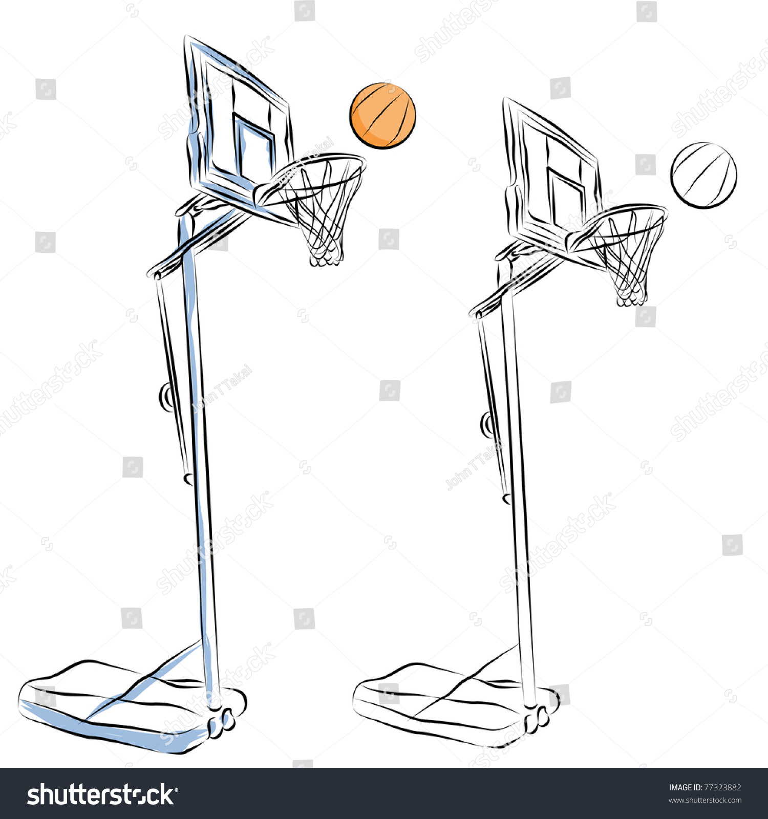 Line Art Basketball : Image basketball hoop stand line drawing stock