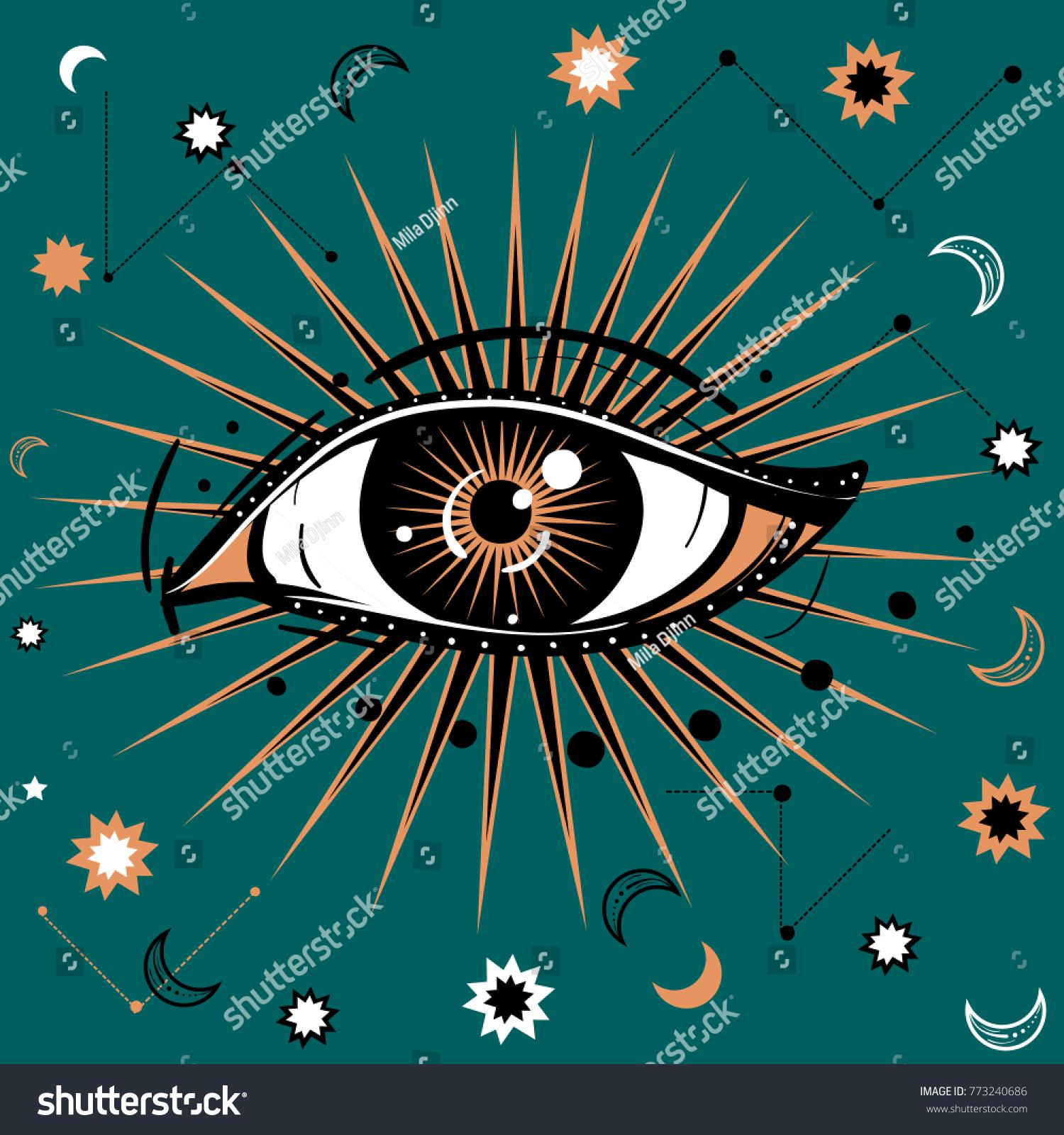Vector illustration allseeing eye symbol celestial stock vector vector illustration with all seeing eye symbol celestial background retro and boho style biocorpaavc