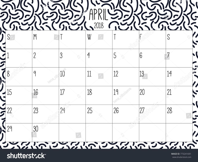 April Planner Modern Creative Calendar 2018 Stock Vector Royalty