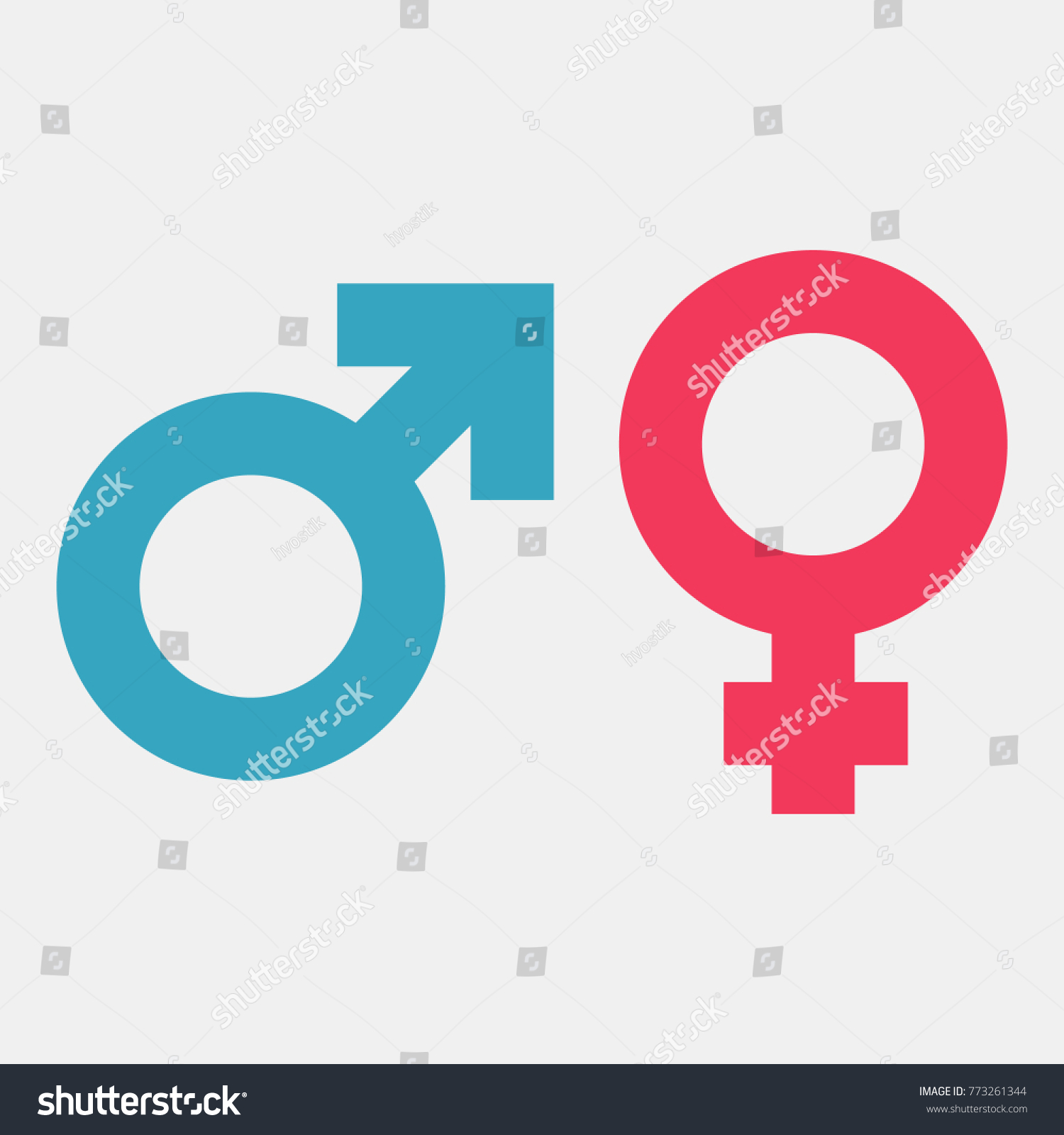 Gender Symbols Male And Female Color Icon Vector Illustration Flat