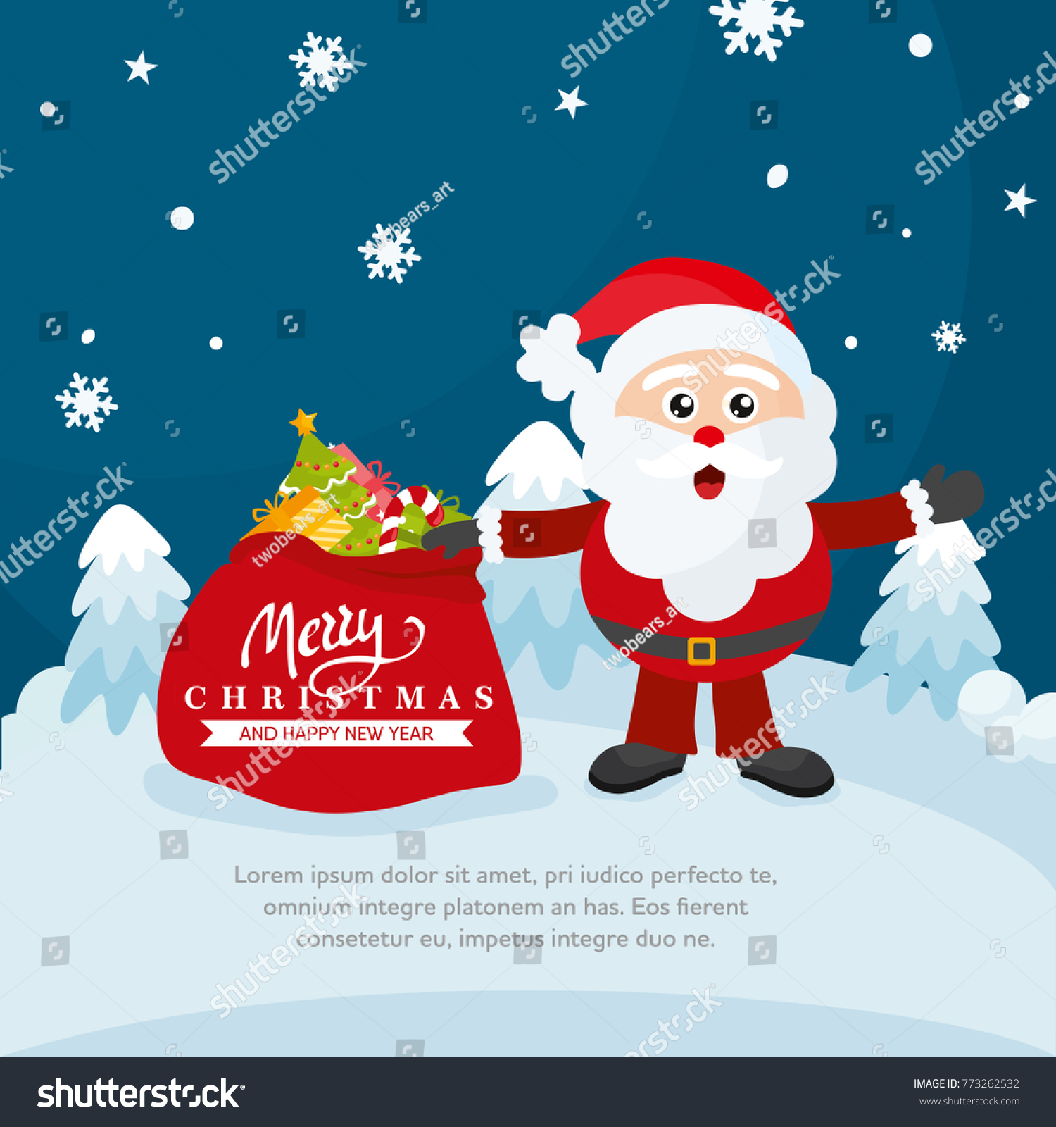 Merry christmas greeting card magic winter stock vector 773262532 merry christmas greeting card magic winter landscape holiday card template with hand drawn lettering m4hsunfo