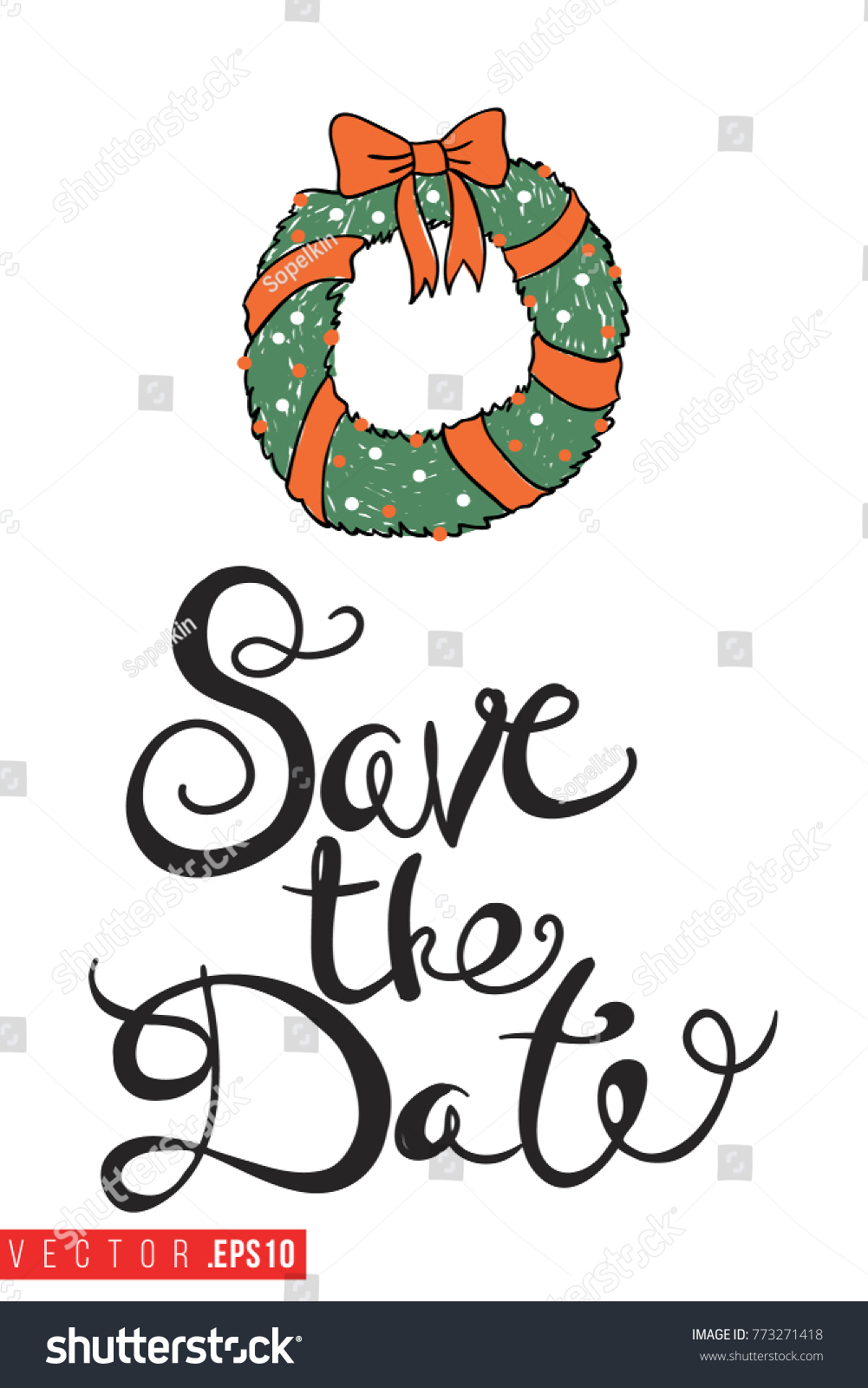 Christmas Save The Date Clipart.Xmas Greeting Card Christmas Wreath Text Stock Vector