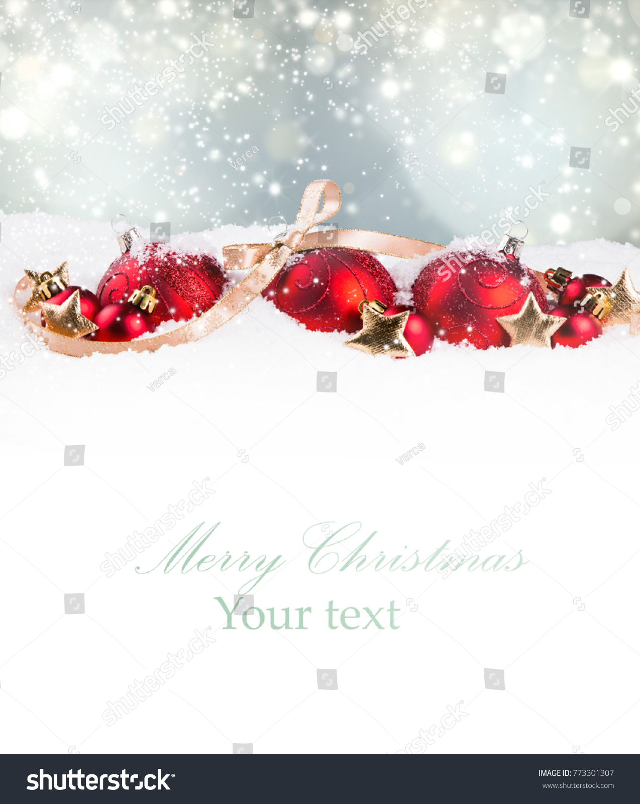 Christmas decorationon white background with free space. Celebration balls and other decoration. Christmas concept #773301307