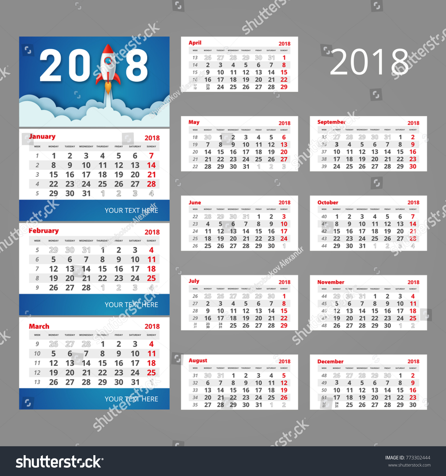 2018 Calendar Template Three Month Grid Stock Vector Royalty Free