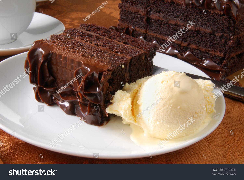 A Slice Of Chocolate Cake And Vanilla Ice Cream Stock ...