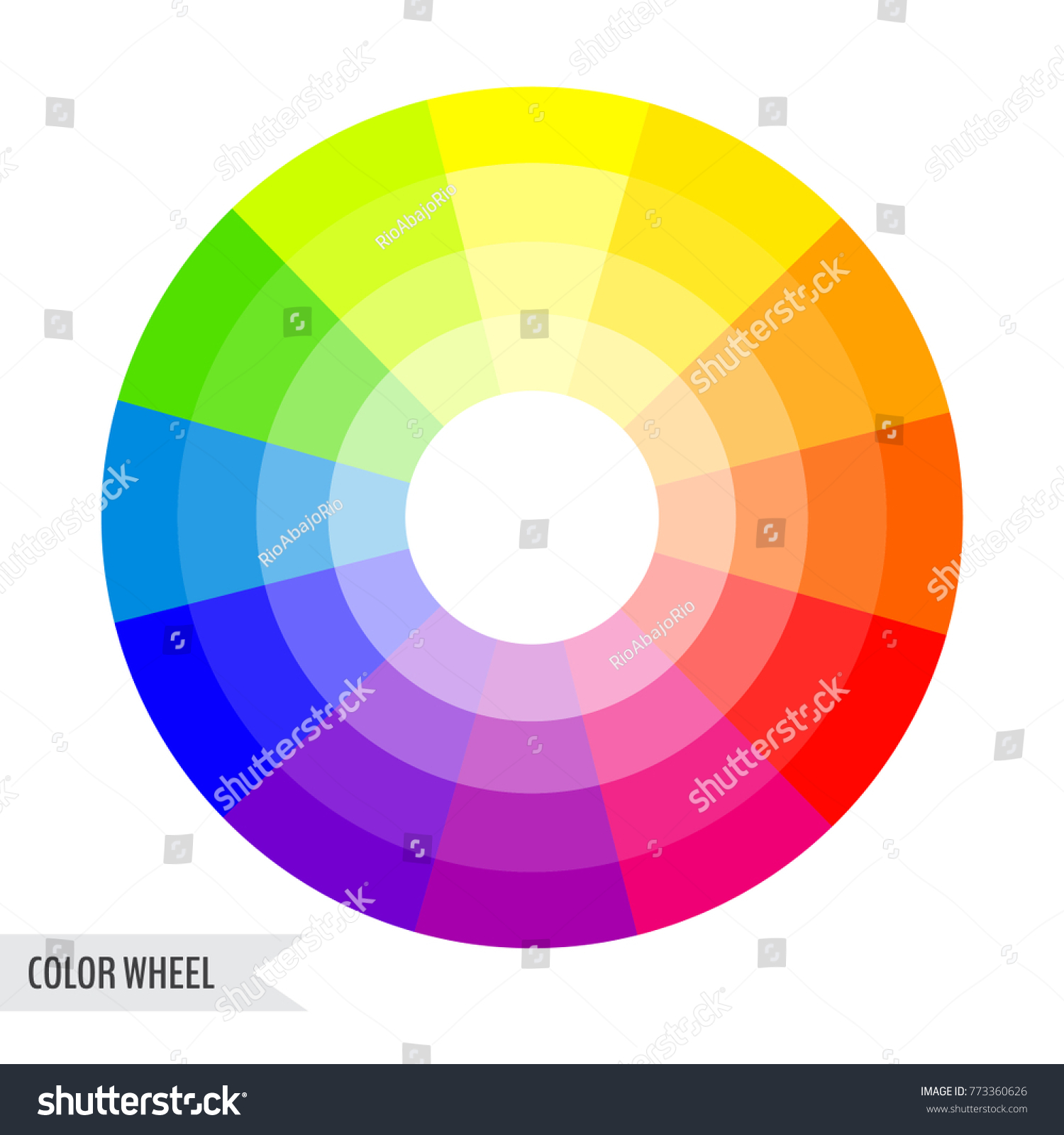 Bright color wheel chart isolated on white