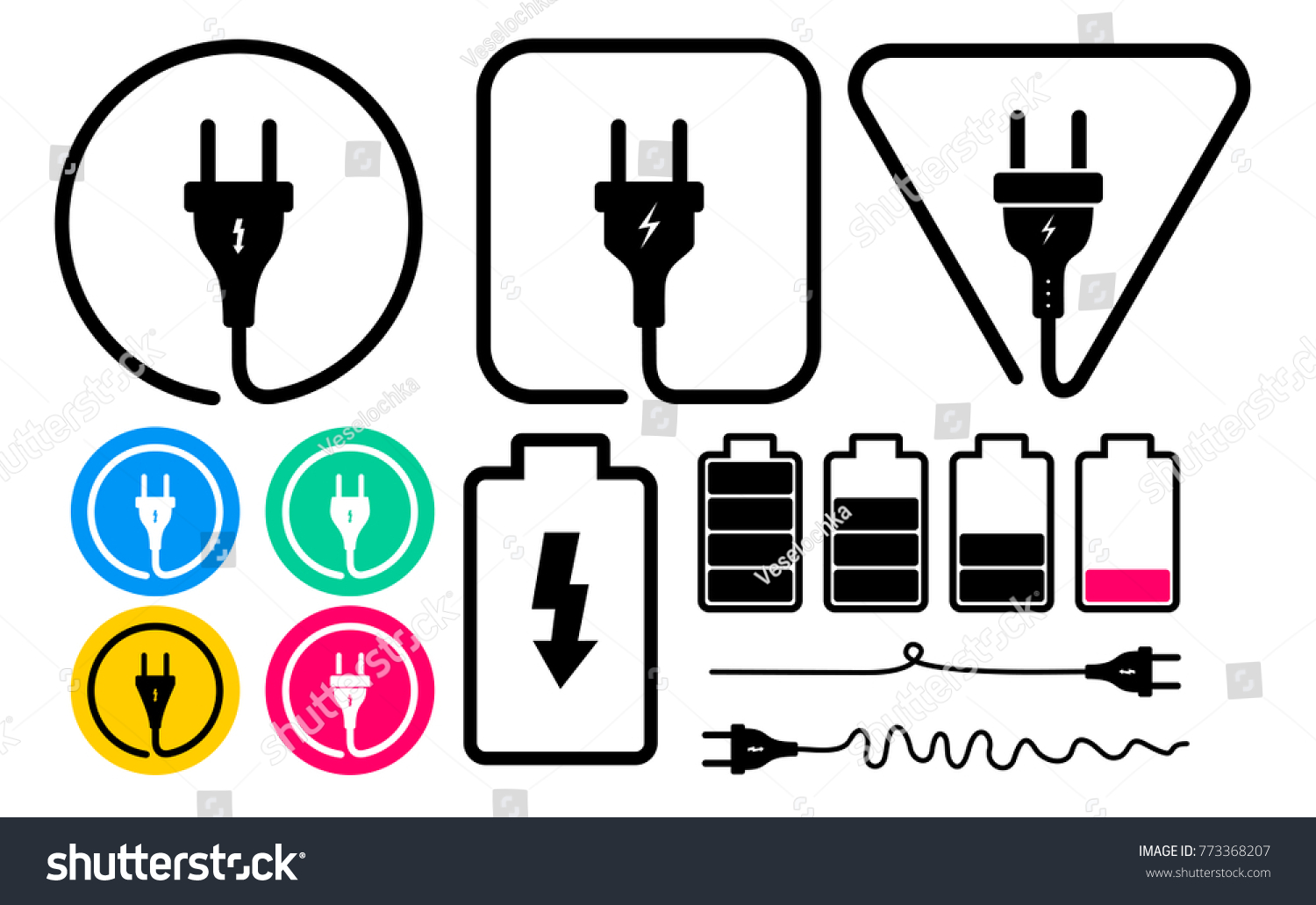 Set Electric Plug Icon Battery Symbols Stock Vector (2018) 773368207 ...