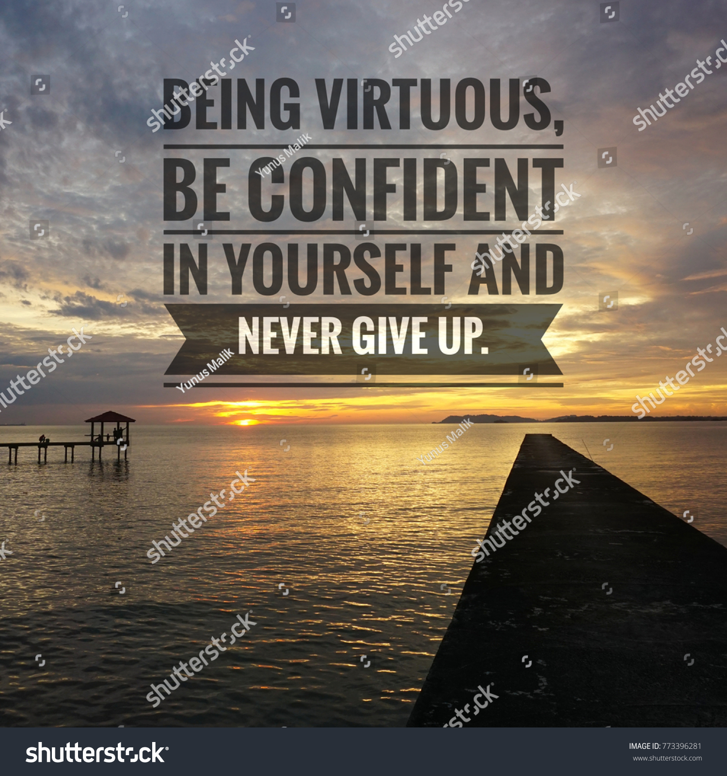 Quotes About Being Confident Endearing Inspirational Motivating Quotes On Nature Background Stock Photo