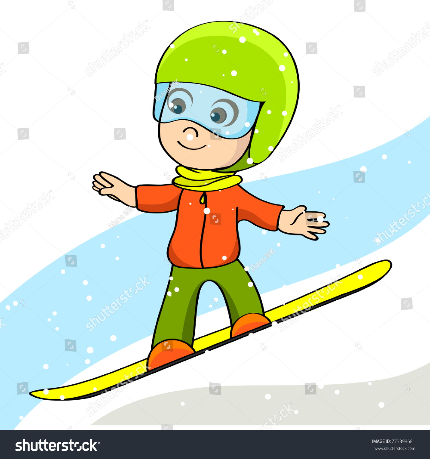 Kid On Board Boy On Snowboard Stock Vector Royalty Free 773398681