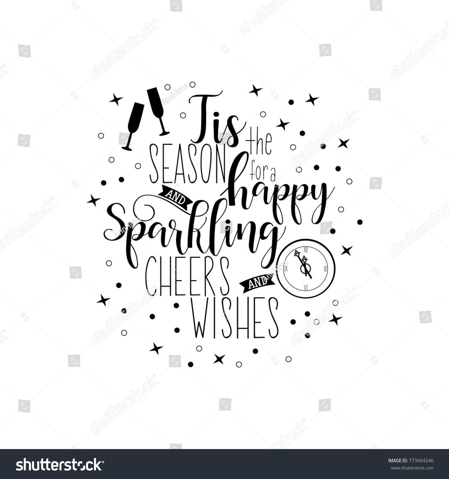 Tis Season Happy Sparkling Cheers Wishes Stock Vector (Royalty Free ...