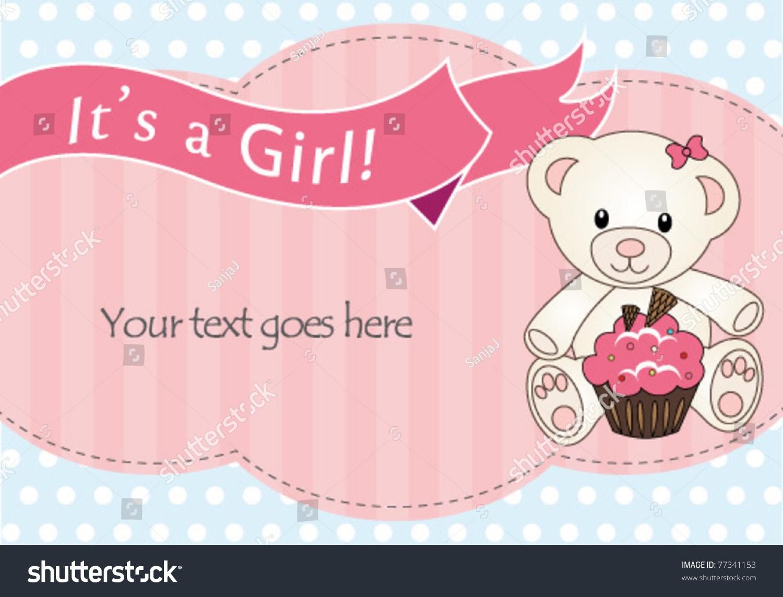 Teddy Bear Baby Girl Shower Invitation Stock Vector Royalty Free