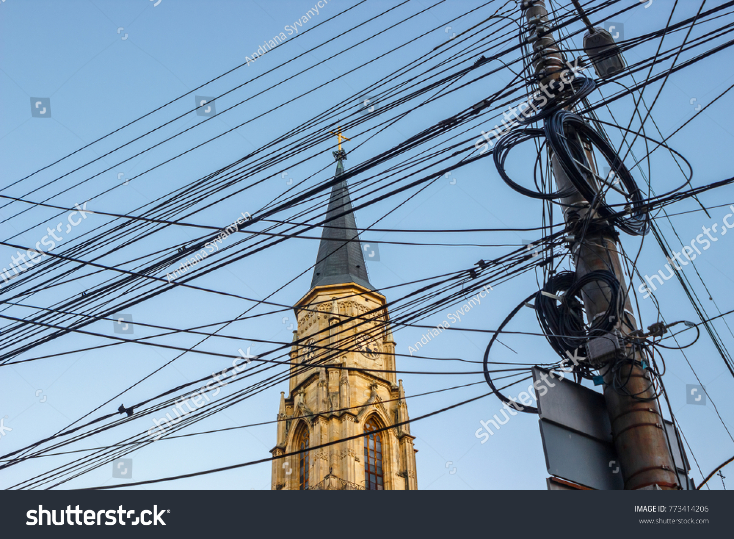 Messy Electrical Cables Front St Michaels Stock Photo (Edit Now ...