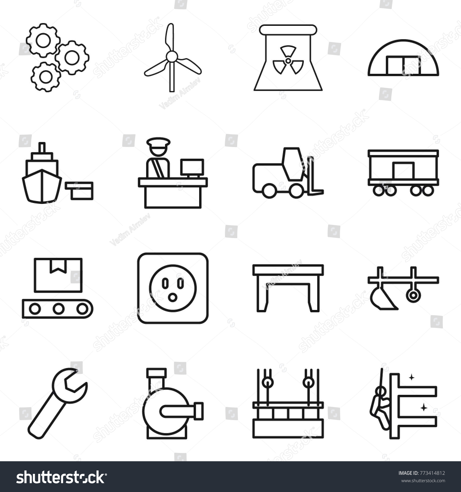 Thin line icon set gear windmill stock vector 773414812 shutterstock thin line icon set gear windmill nuclear power hangare port pooptronica Gallery