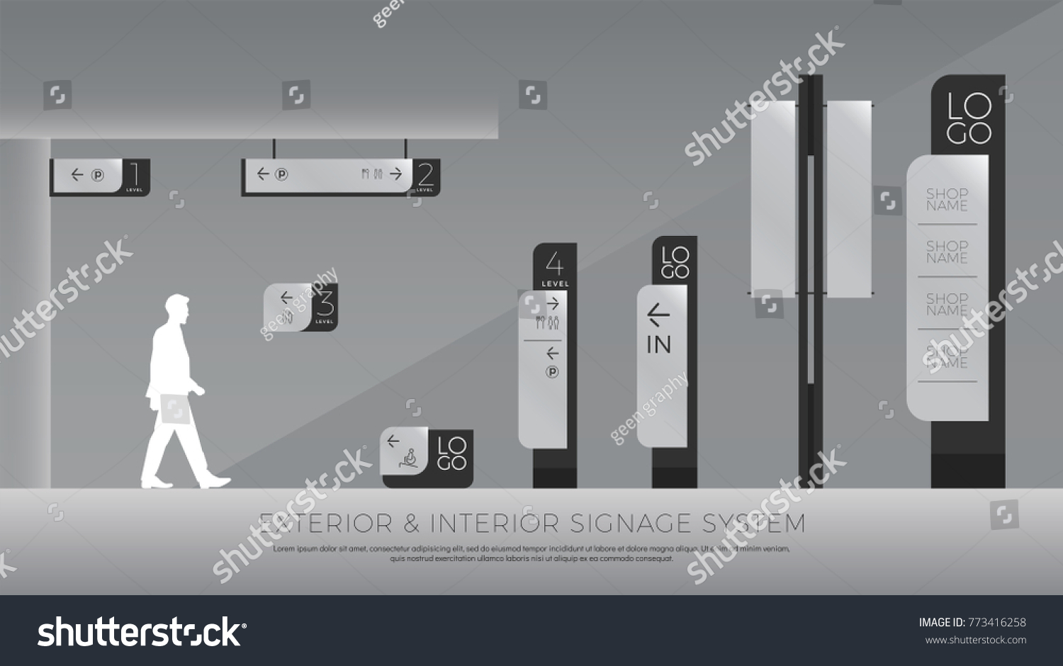exterior and interior signage. direction, pole, wall mount and traffic signage system design template set. empty space for logo, text, color corporate identity #773416258