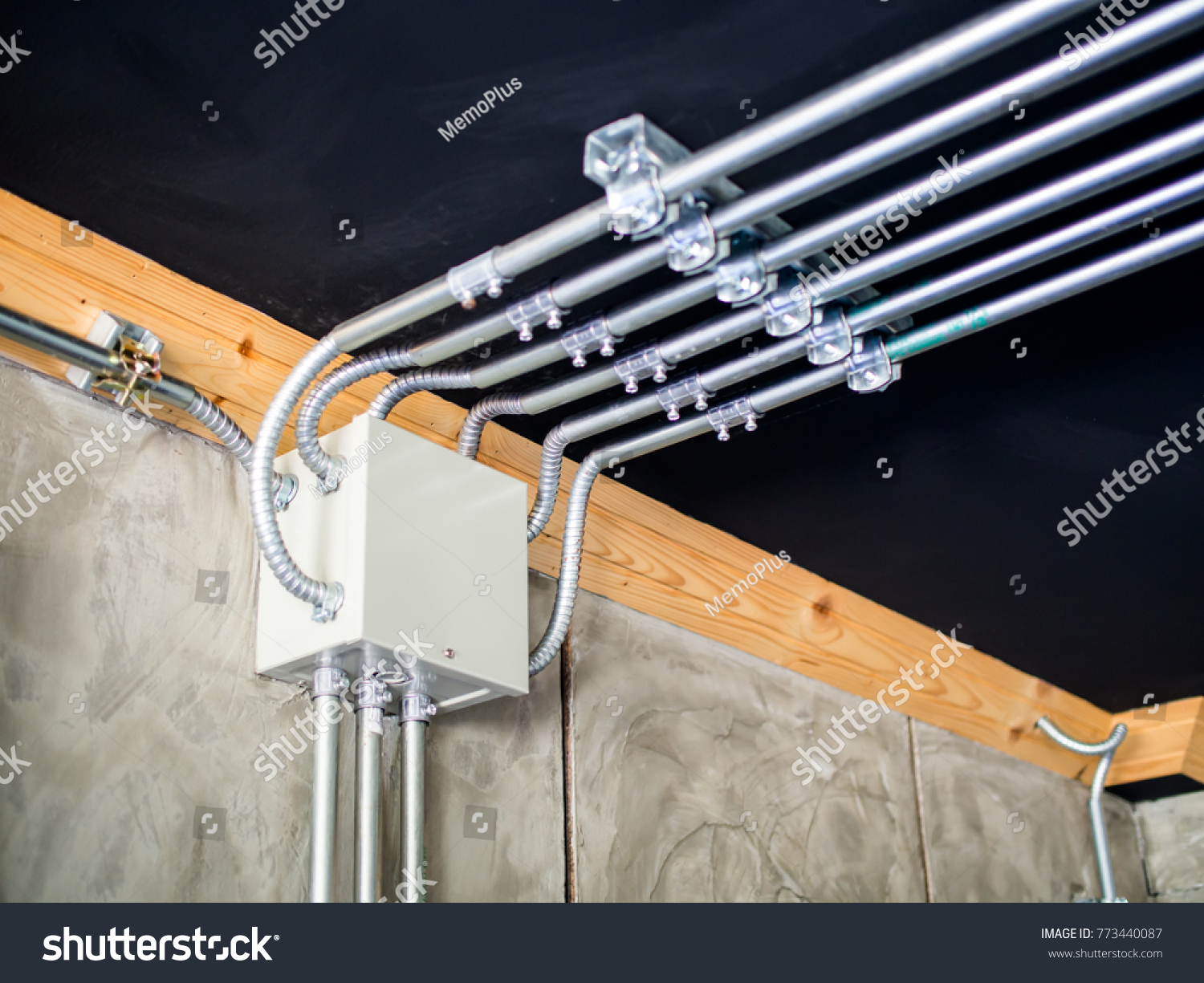 Electrical Metal Conduit Work Installation Stock Photo Wiring Steel Wires Running Across The Ceiling Loft Style