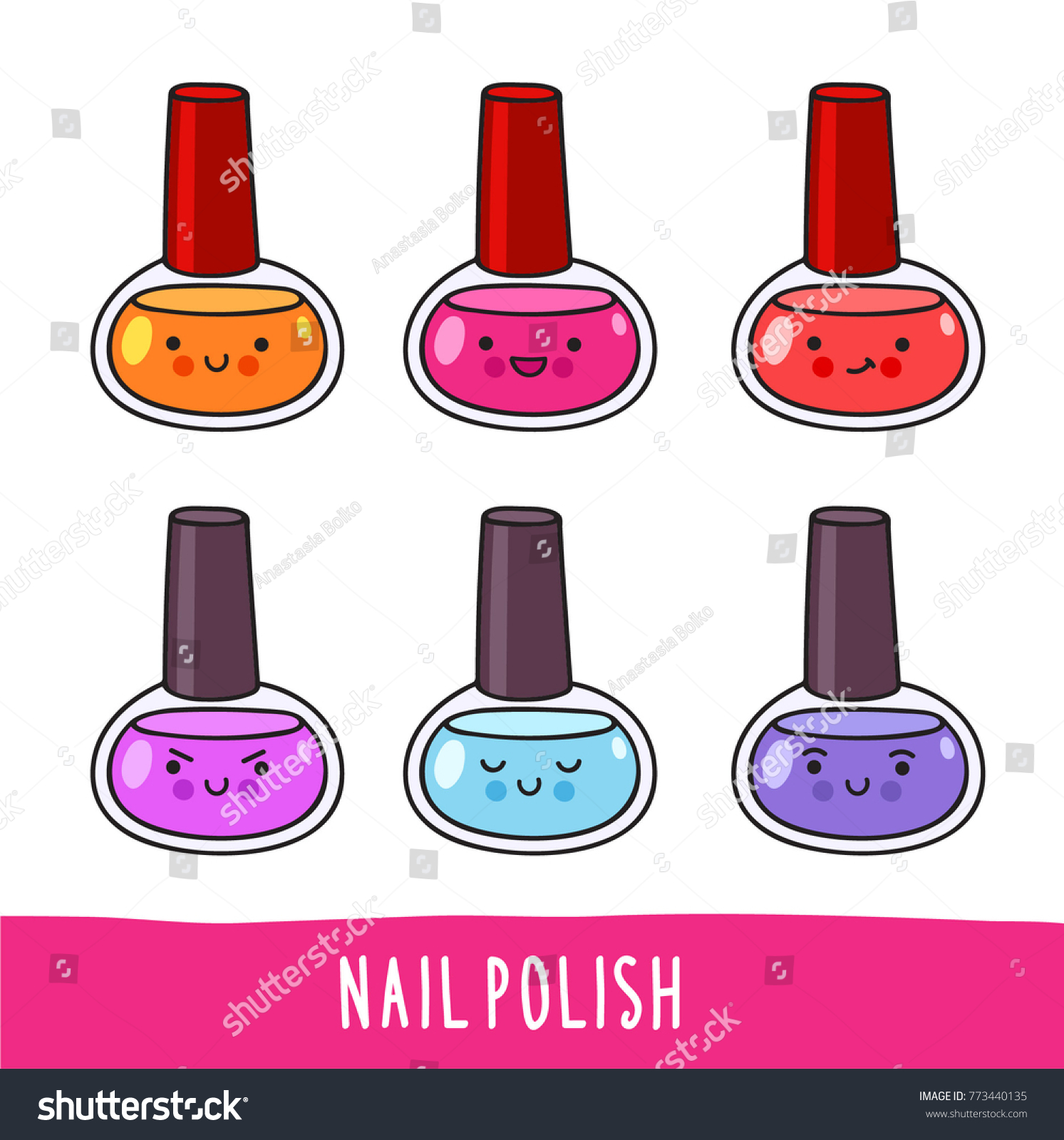 Nail Polish Set Cute Cartoon Doodle Stock Vector (Royalty Free ...