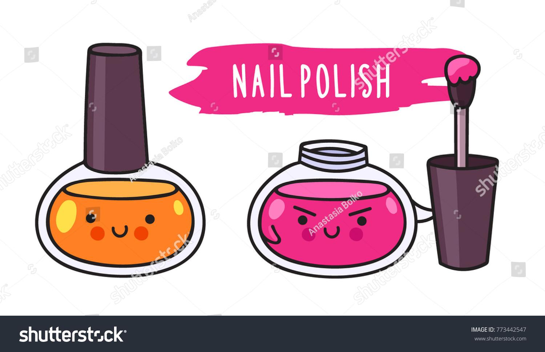 Warlike Nail Polish Brush Cute Cartoon Stock Vector 773442547 ...