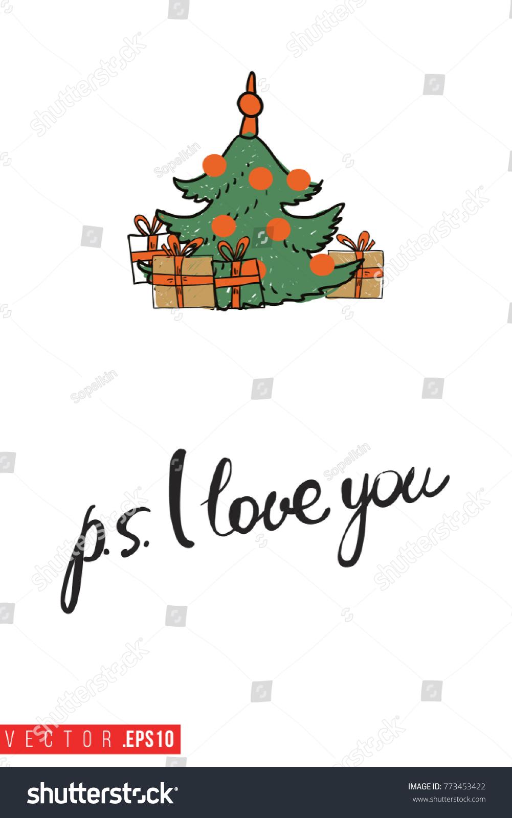 Xmas Greeting Card Decorative Fir Tree Stock Vector (Royalty Free ...