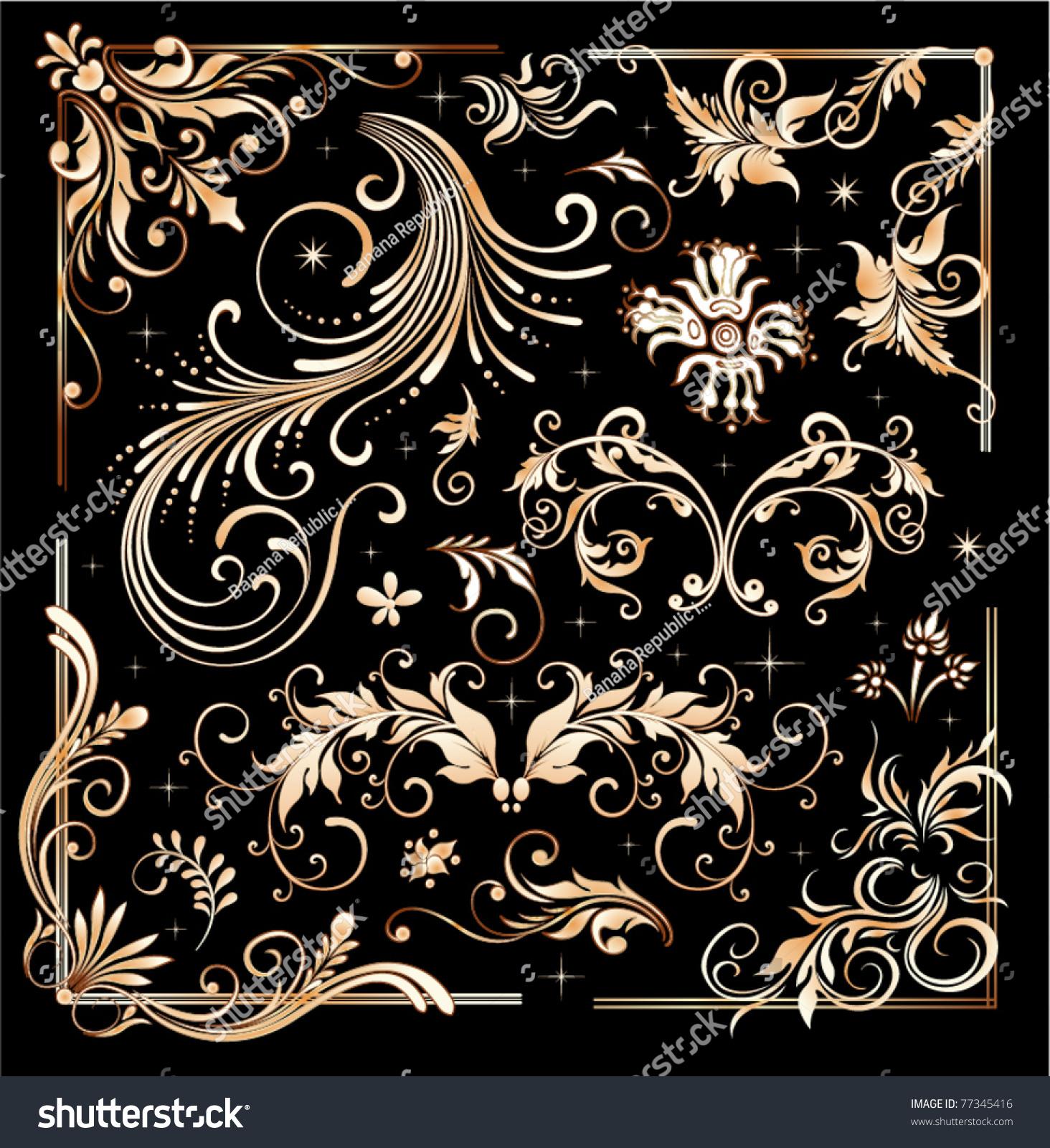 Золотой орнамент для вышивки 783