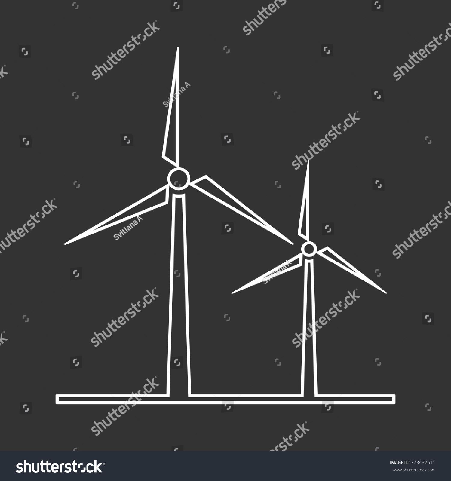 Outline Vector Wind Turbine Icon Logo Stock Vector