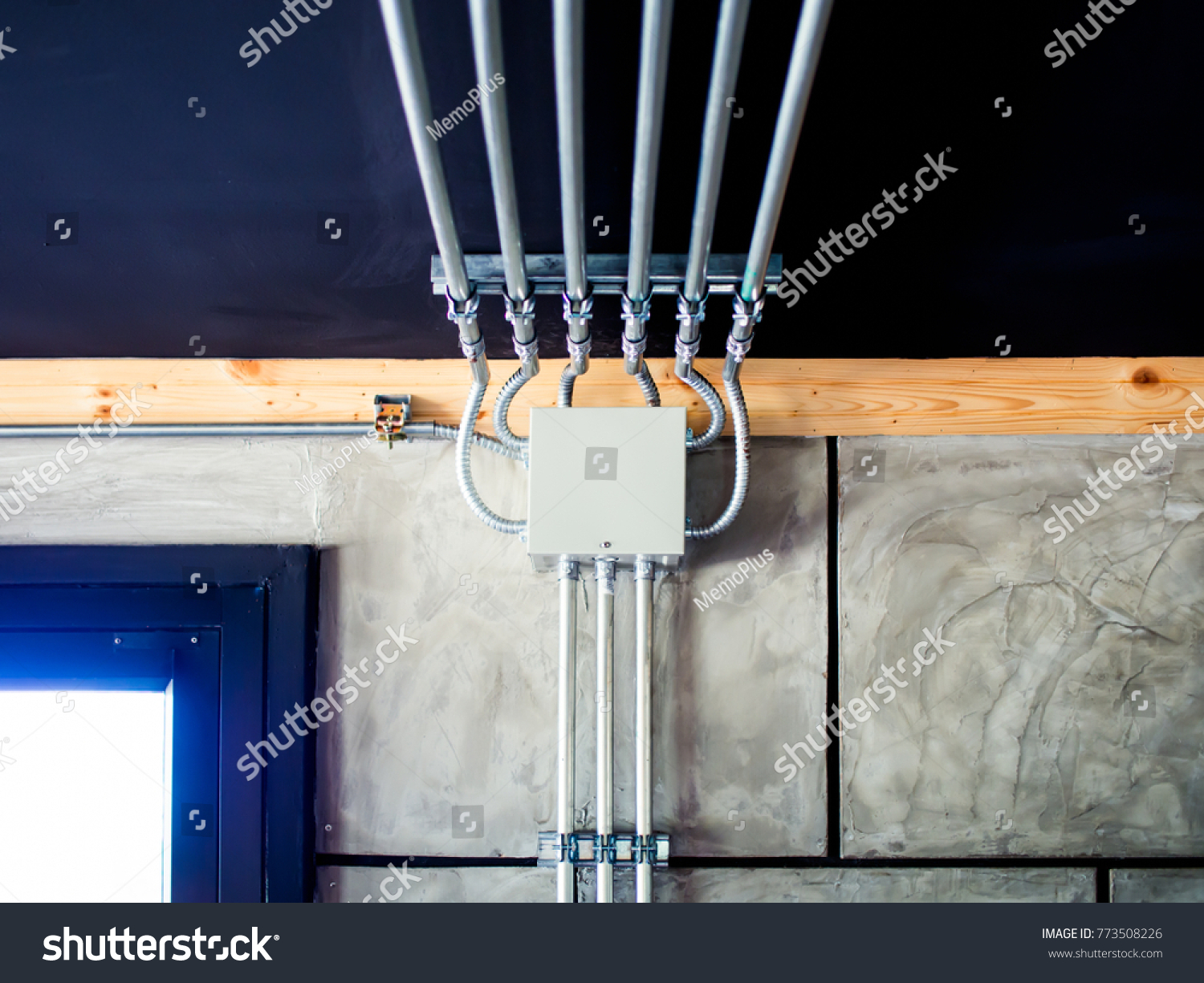 Electrical Metal Conduit Work Installation Stock Photo Wiring Steel Wires Running Across The Wall And Ceiling Loft