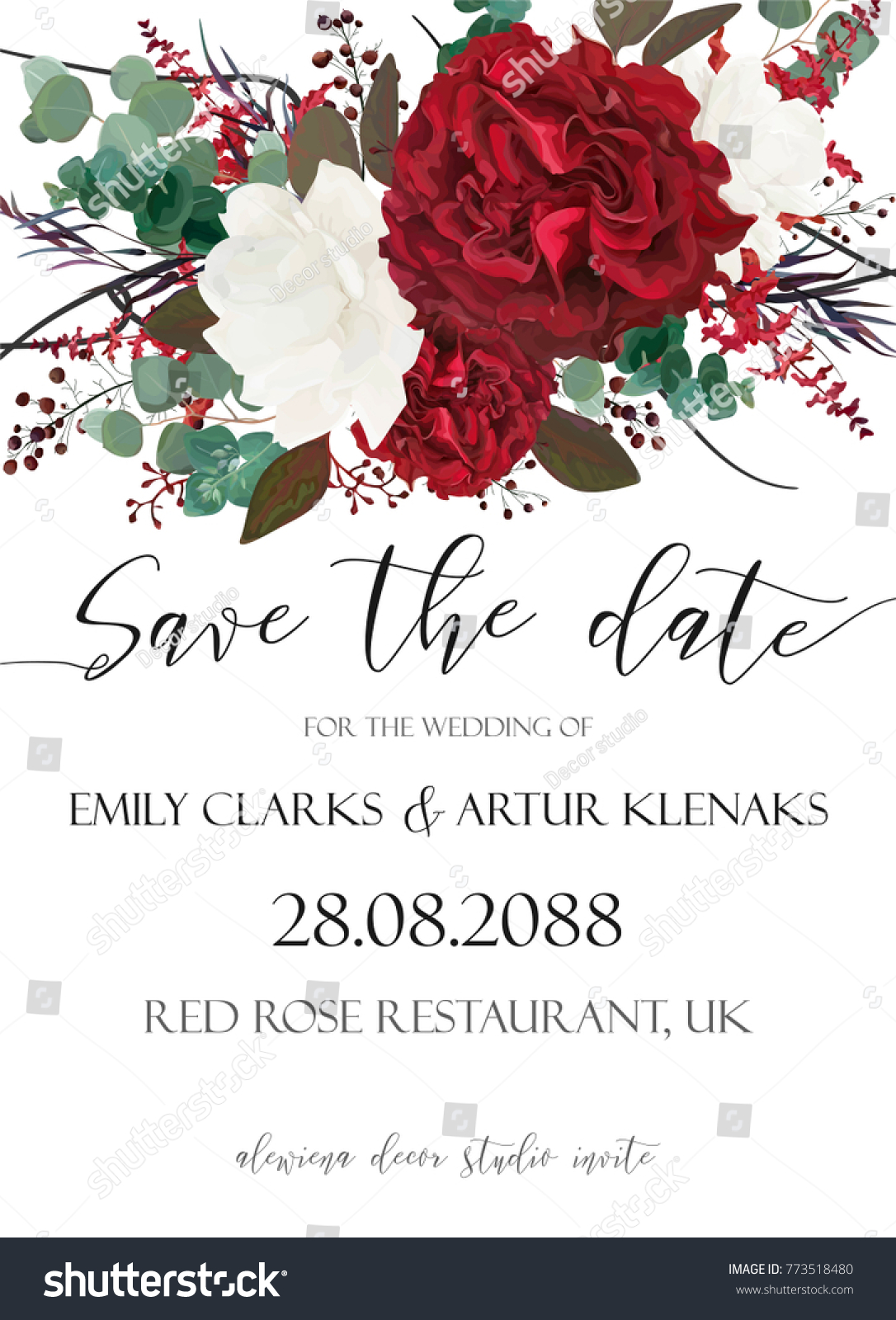 Wedding Save Date Invite Invitation Card Stock Vector 773518480 ...