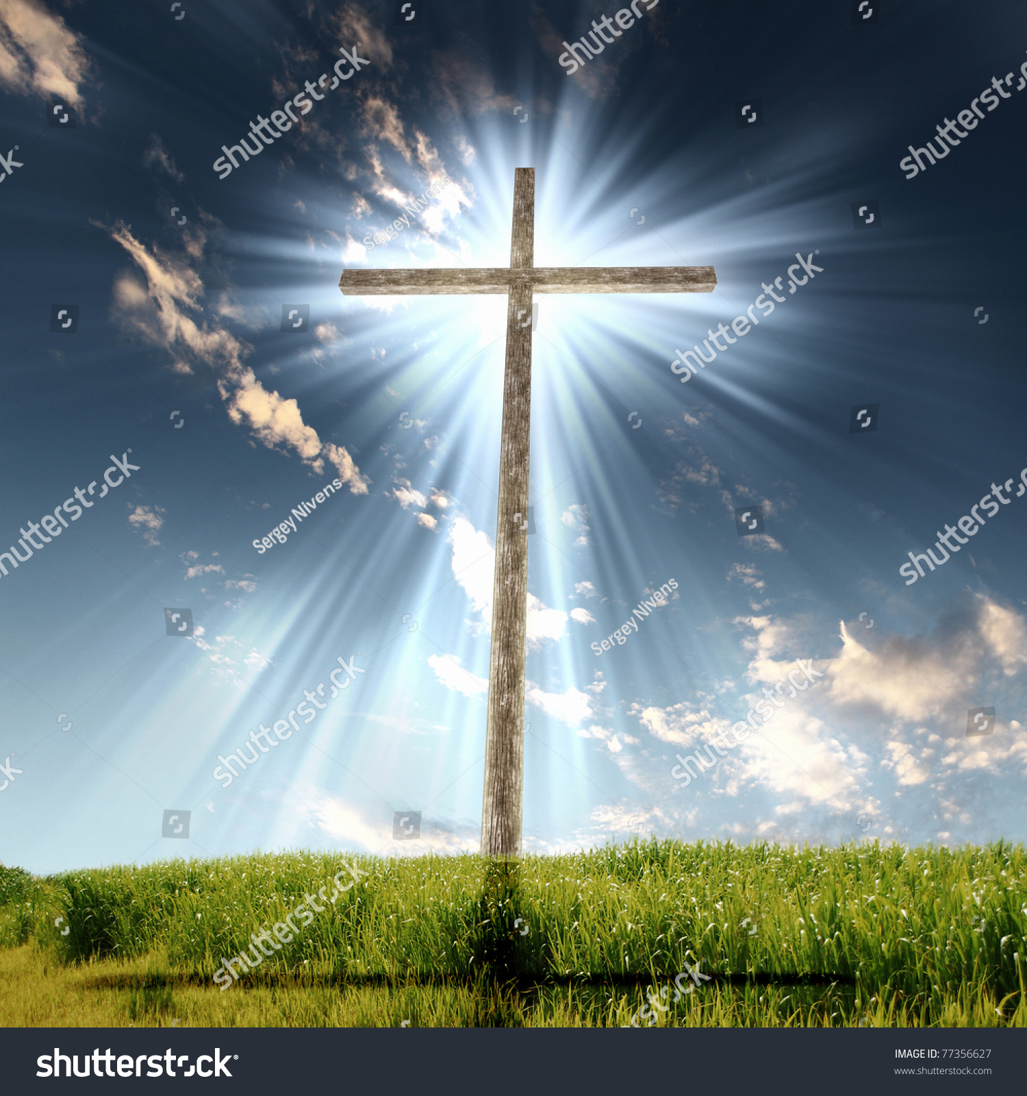 Christian Cross Against The Sky In A Blaze Of Glory Religious