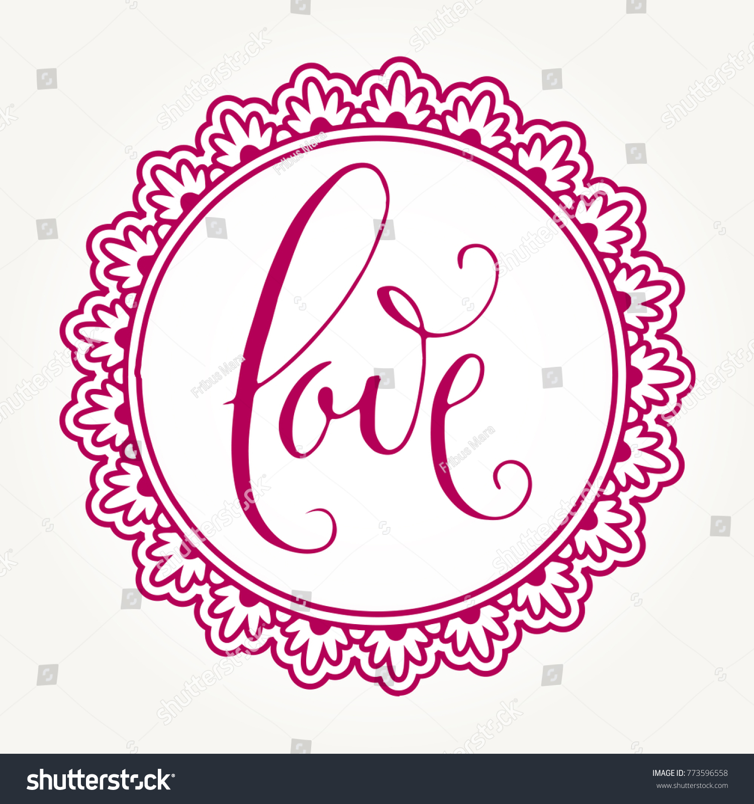 hand written valentines day greetings in a pink round frame isolated over white background vector