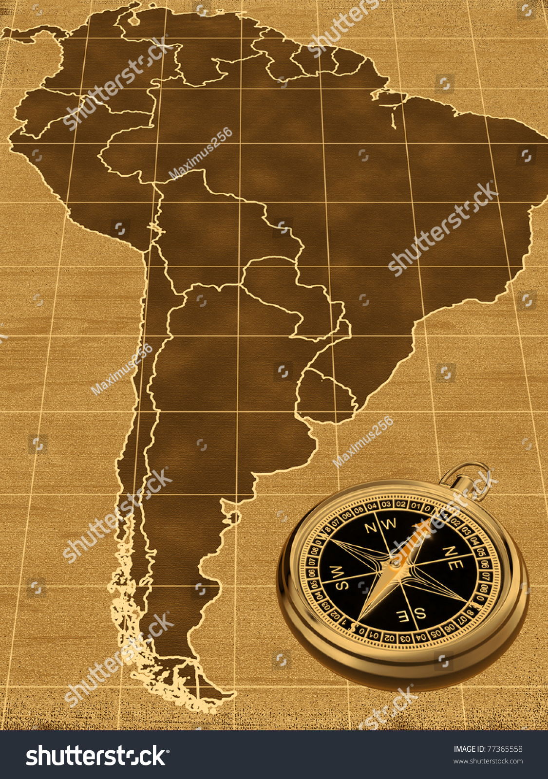 Map South America On Old Background Stock Illustration - Old maps of america
