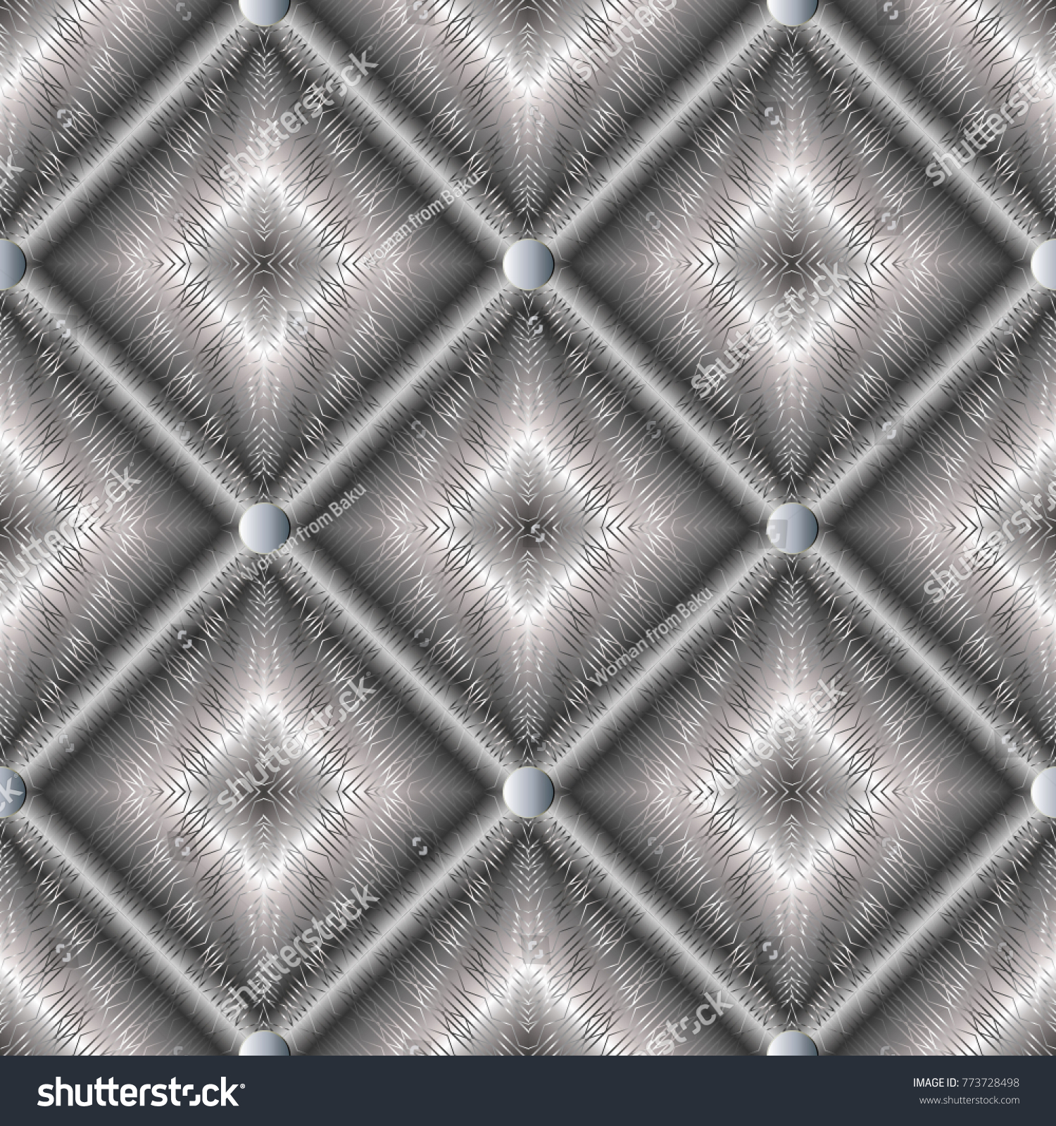 Modern Geometric Silver 3d Seamless Pattern Abstract Striped Lattice Backgroind Vector Surface Endless Texture