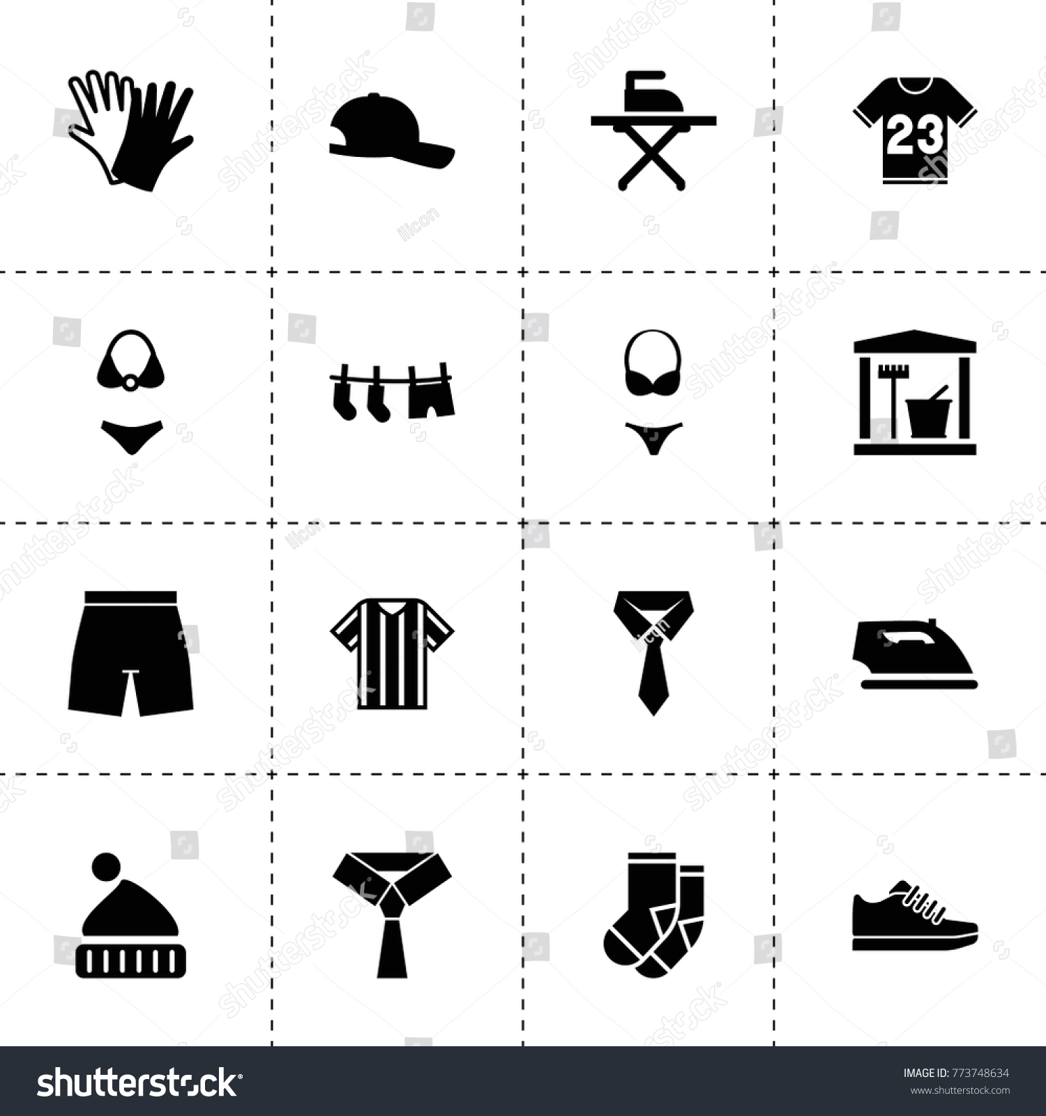 Clothing Icons Vector Collection Filled Clothing Stock Vector