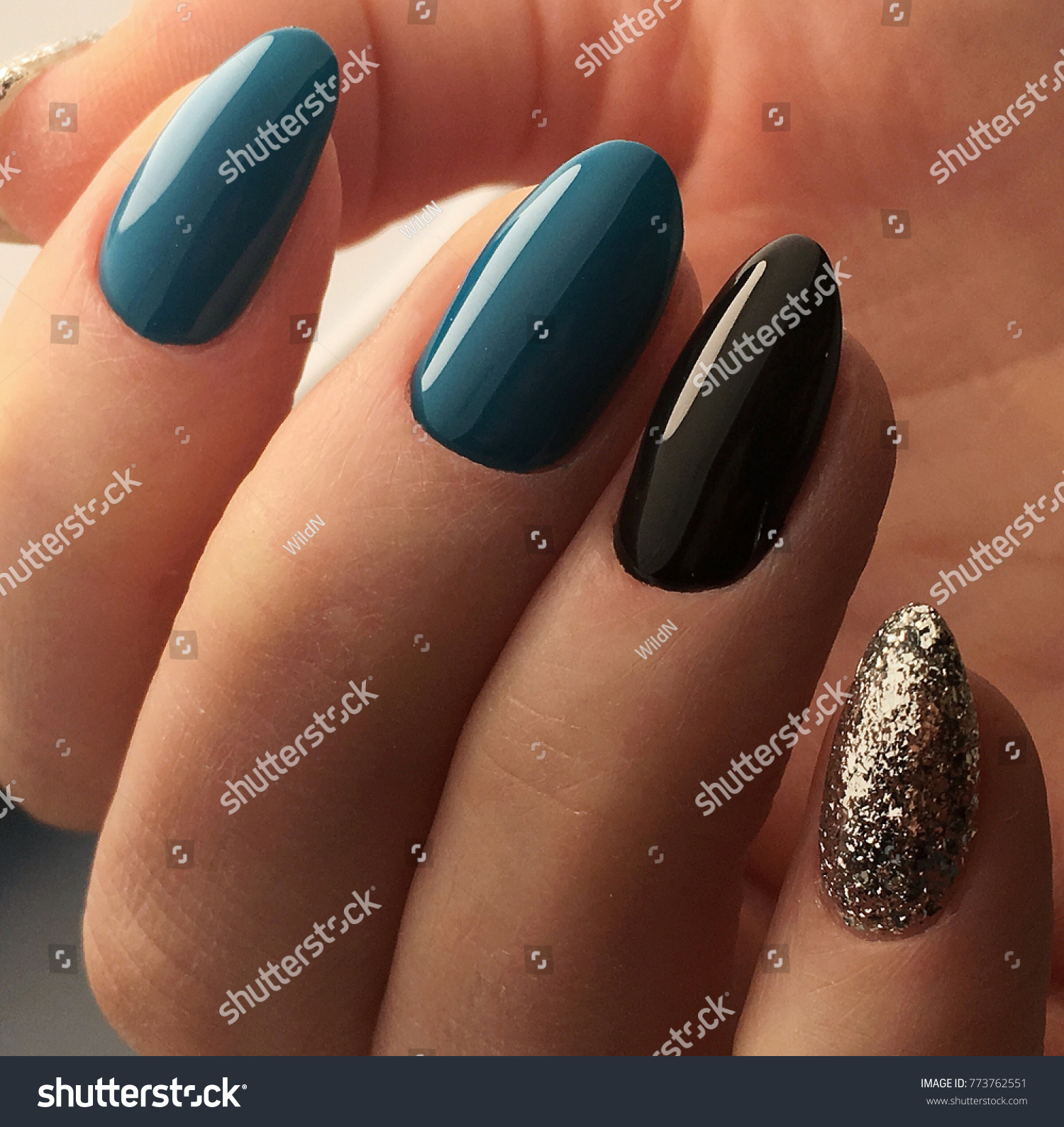 New Green Silver Luxury Nails Manicure Stock Photo (Royalty Free ...