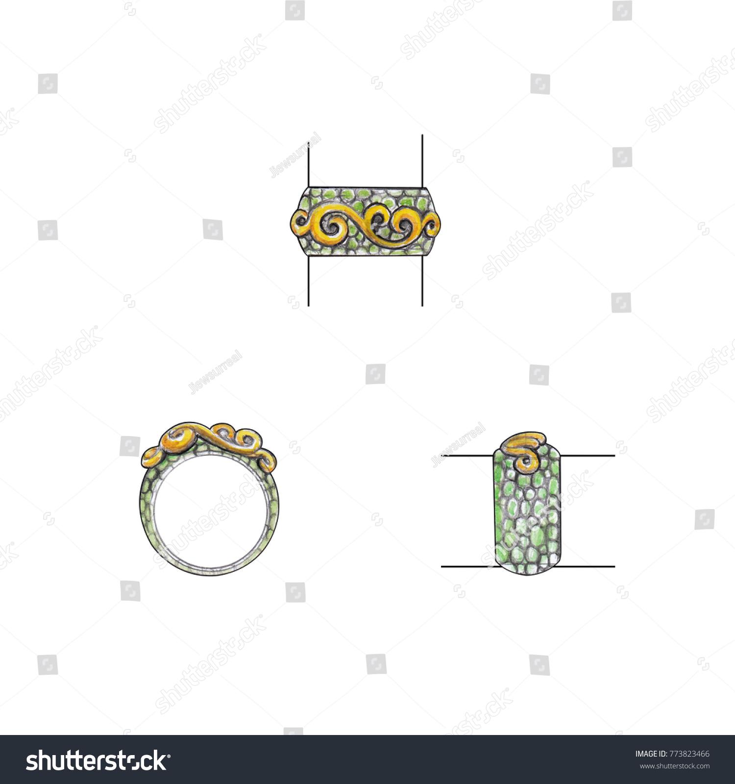 Jewelry Design Vintage Gold On Stingray Stock Illustration 773823466 ...