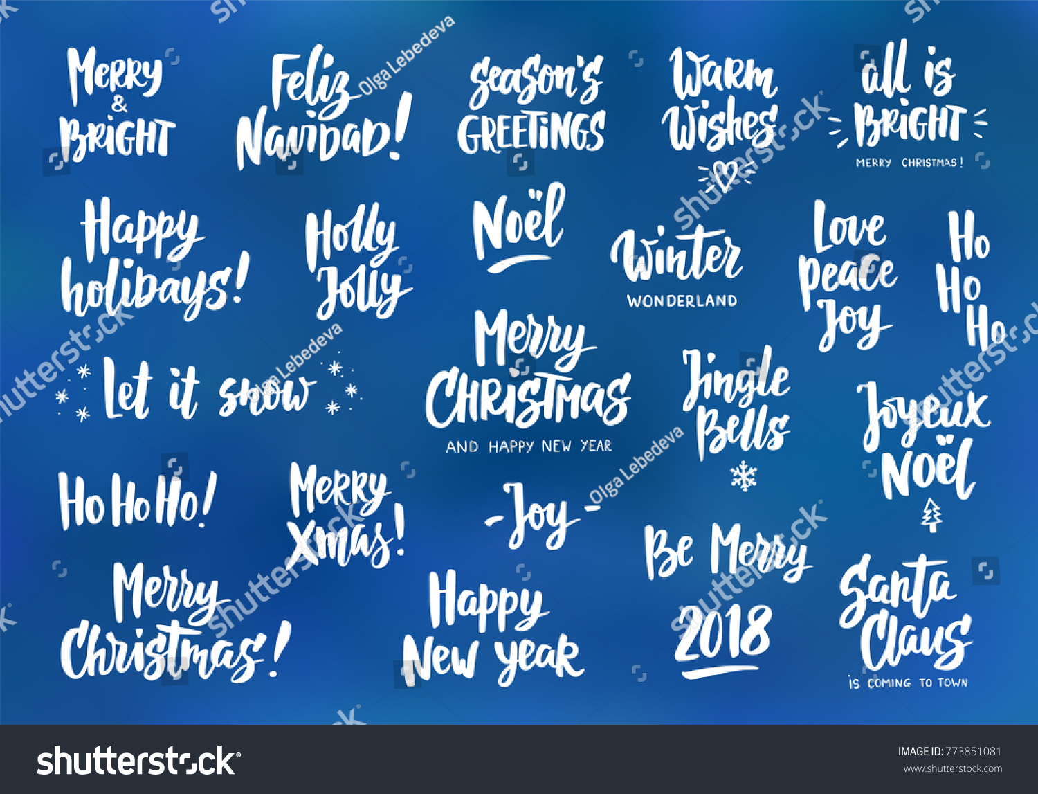 Holiday Wishes Quotes Set Holiday Greeting Quotes Wishes Hand Stock Vector 773851081