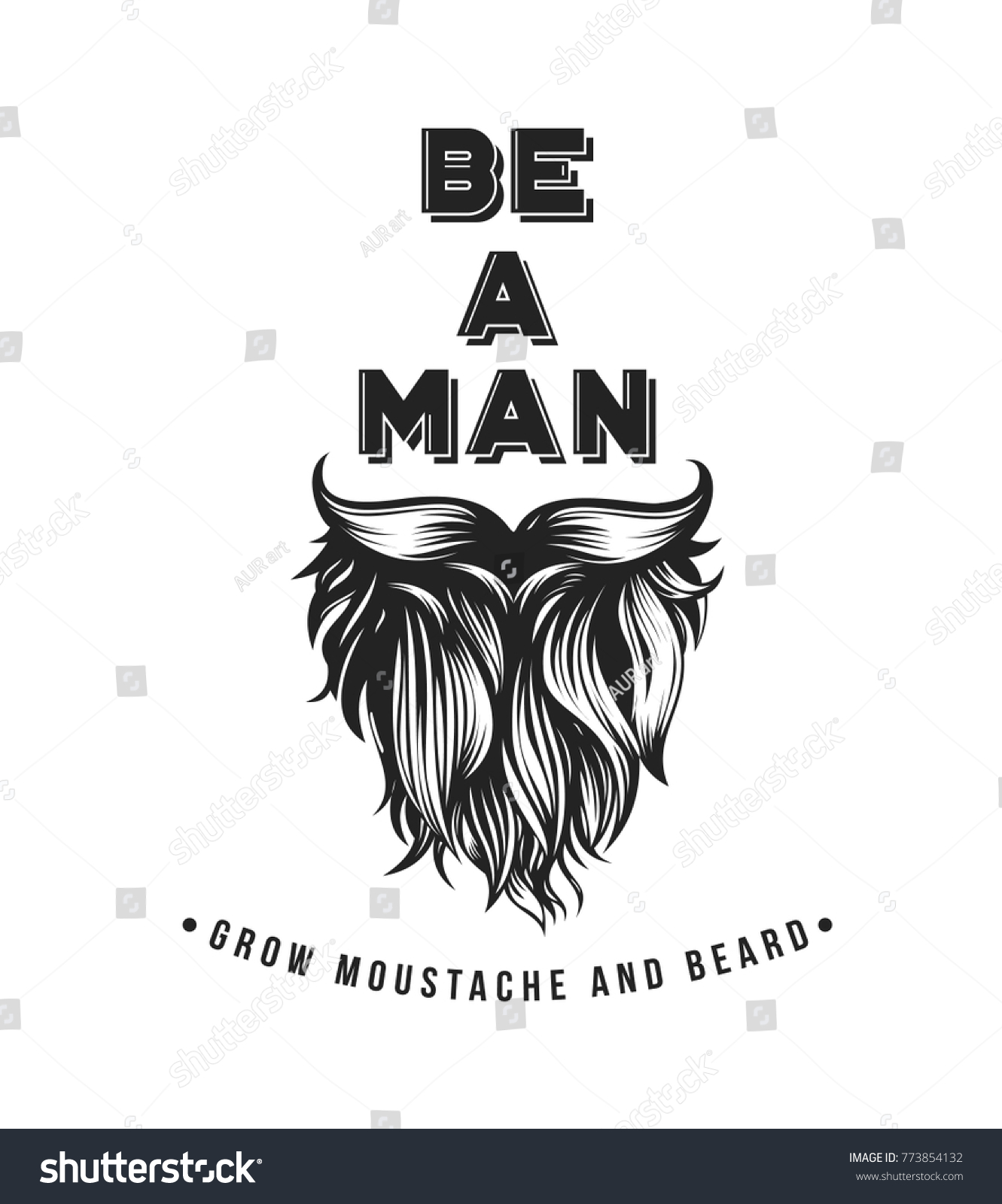 Hipster Beard Mustache Symbol Male Barber Stock Vector Royalty Free