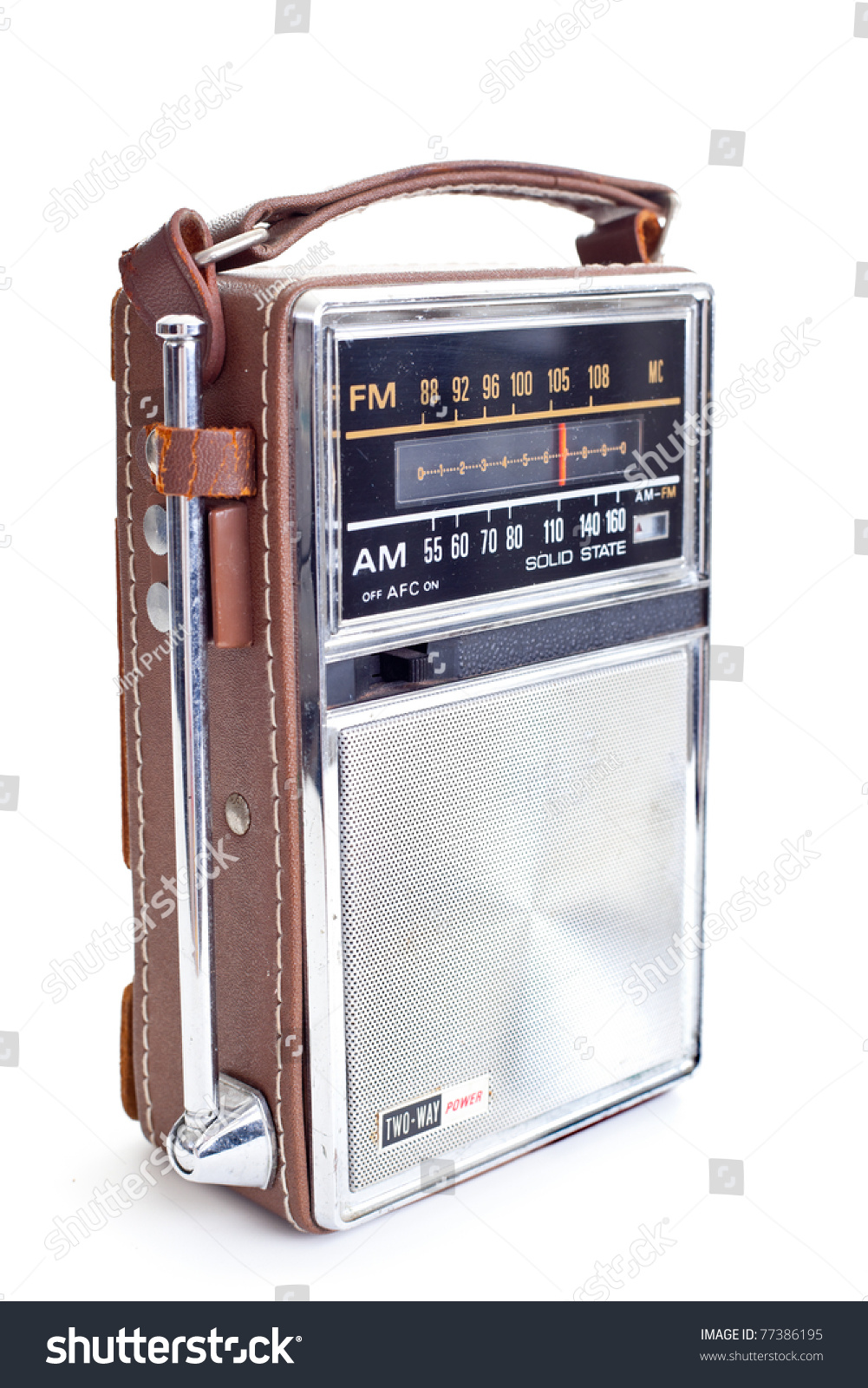 Old Portable Radio Lots Chrome Leather Stock Photo (Edit Now