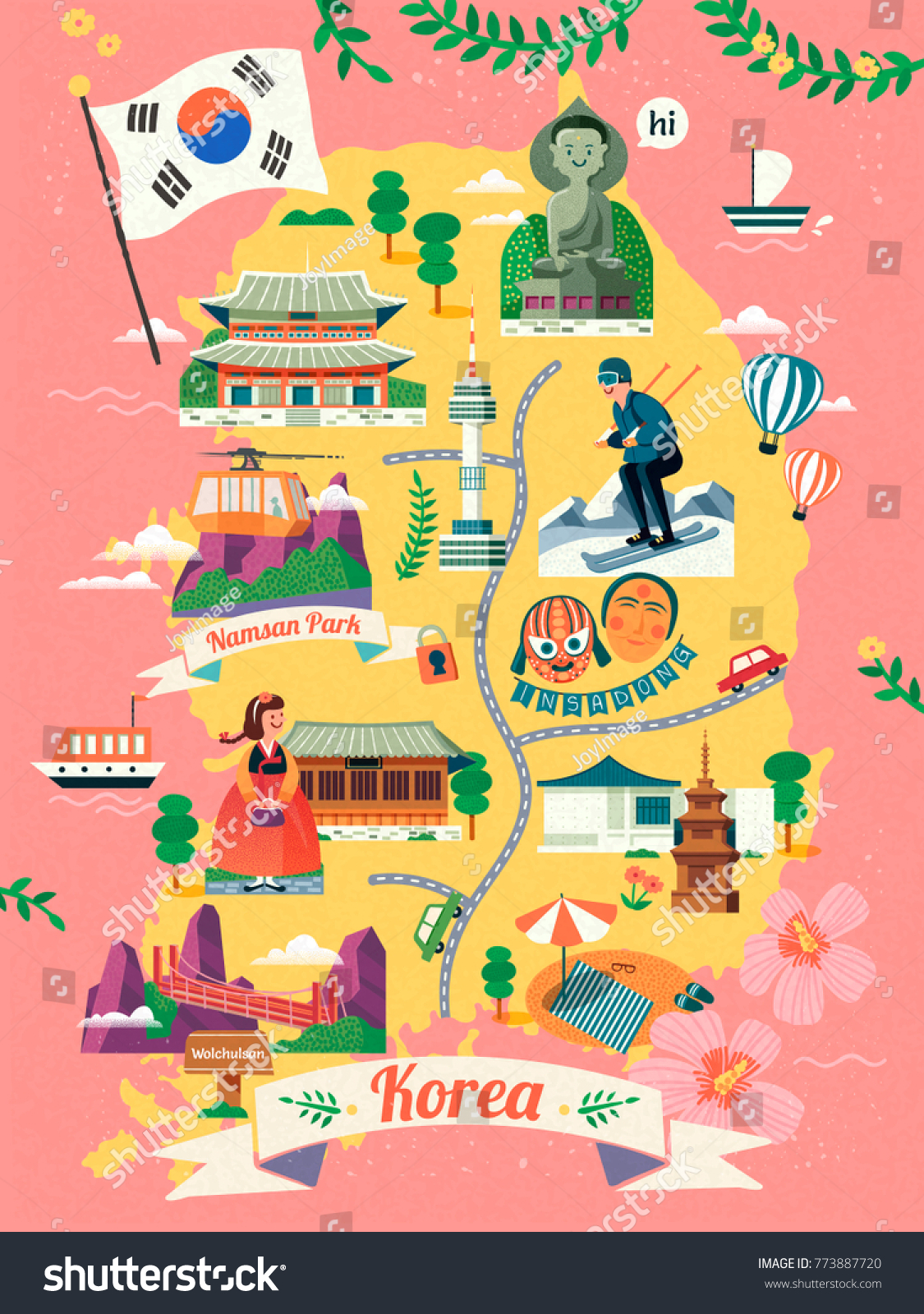 Korea travel map lovely korea famous stock vector 773887720 korea travel map lovely korea famous landmark and culture symbol on map in flat design biocorpaavc Image collections