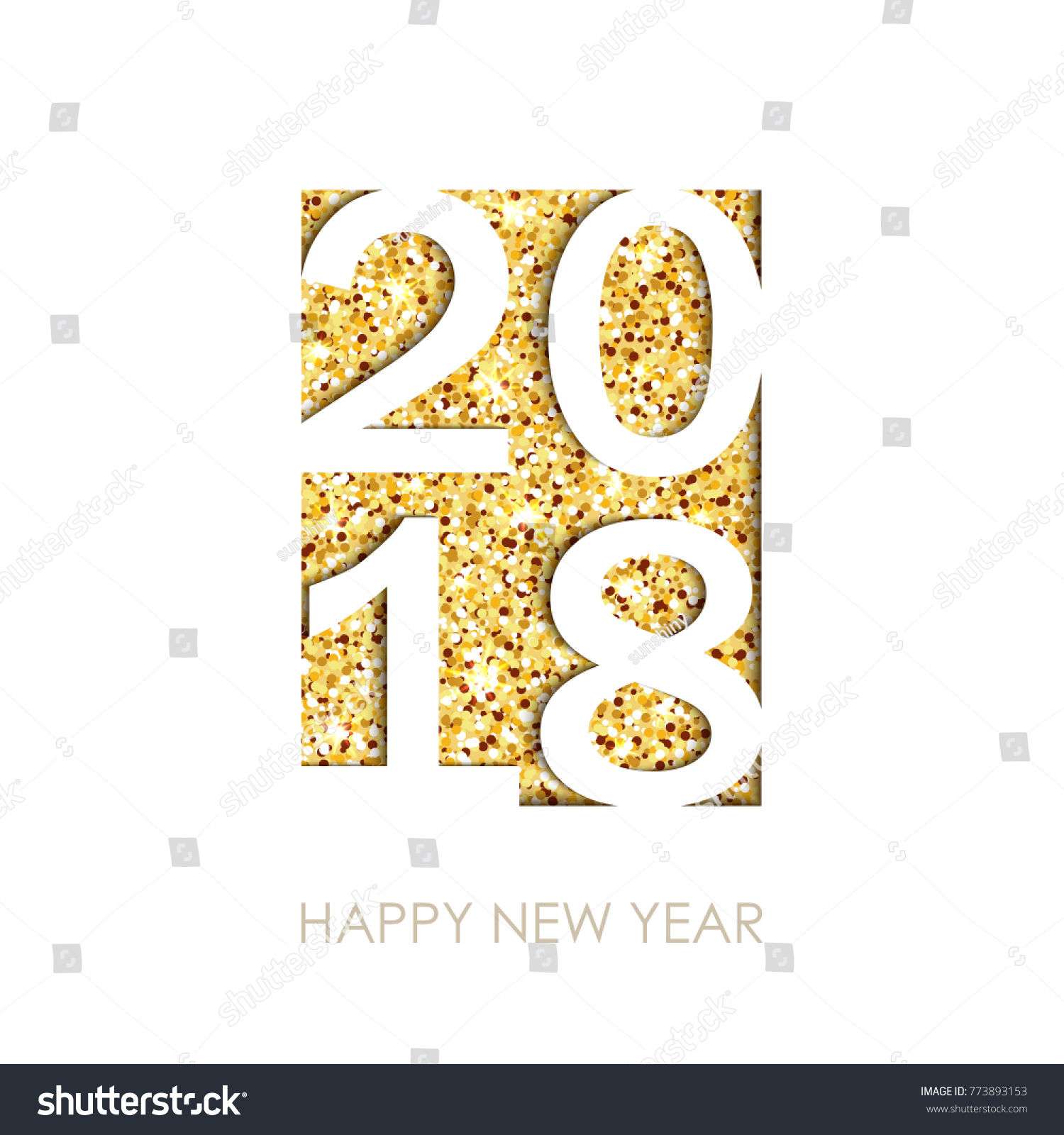 2018 happy new year text greeting stock illustration 773893153 2018 happy new year text for greeting card calendar invitation white background with kristyandbryce Images