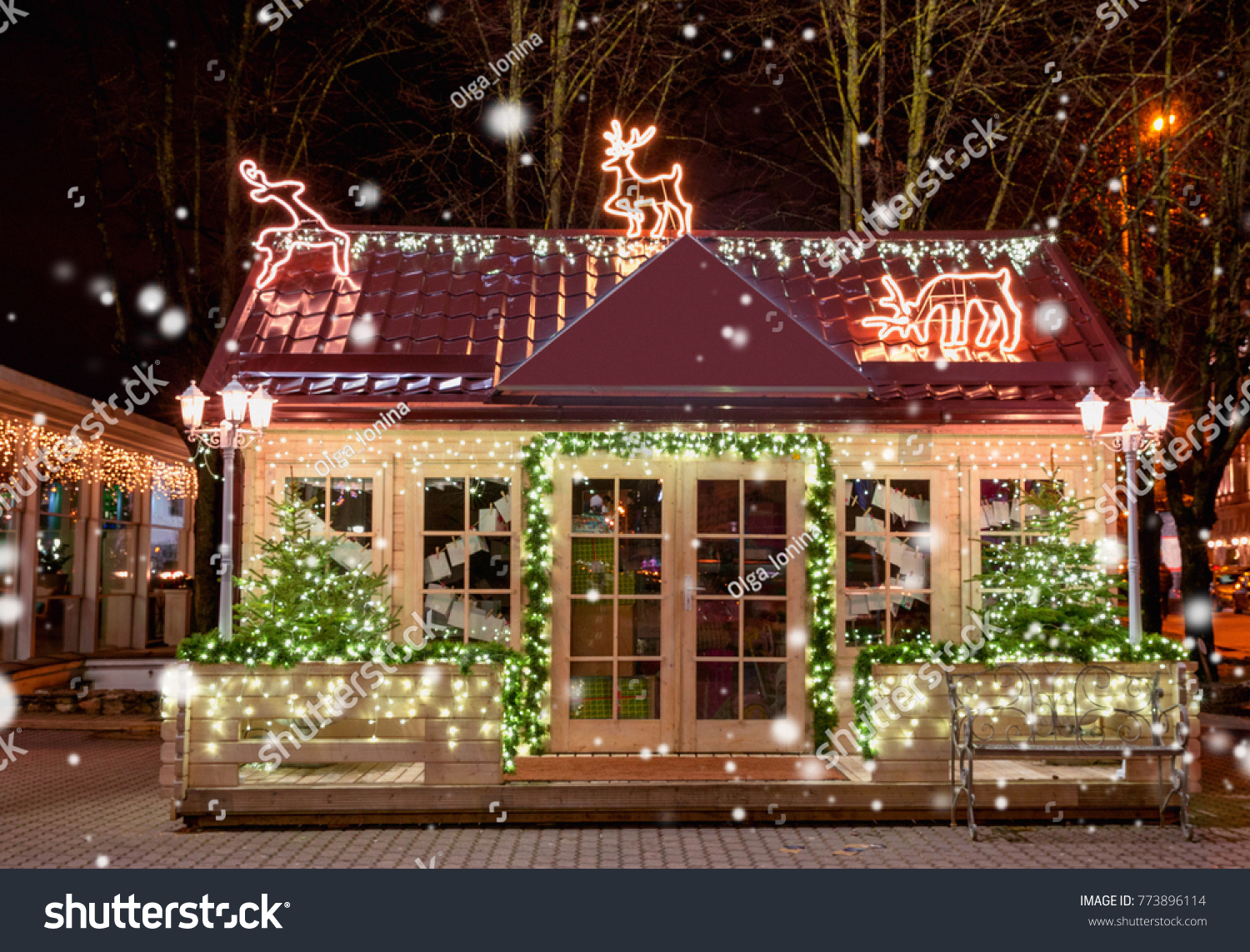 Wooden Small House New Year Decoration Stock Photo Edit Now